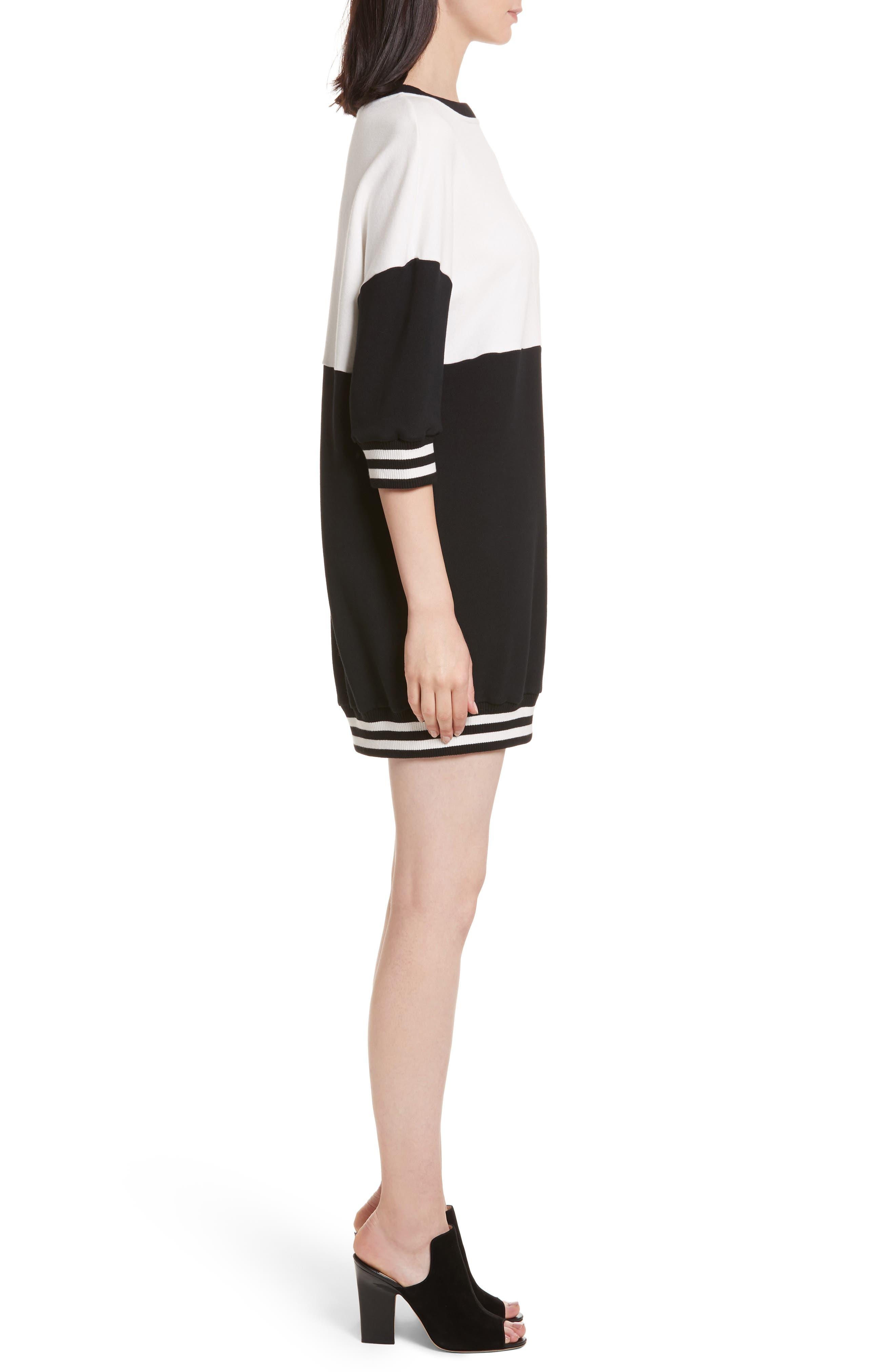 Gussie Colorblock Sweatshirt Dress,                             Alternate thumbnail 3, color,                             Black/ Off White