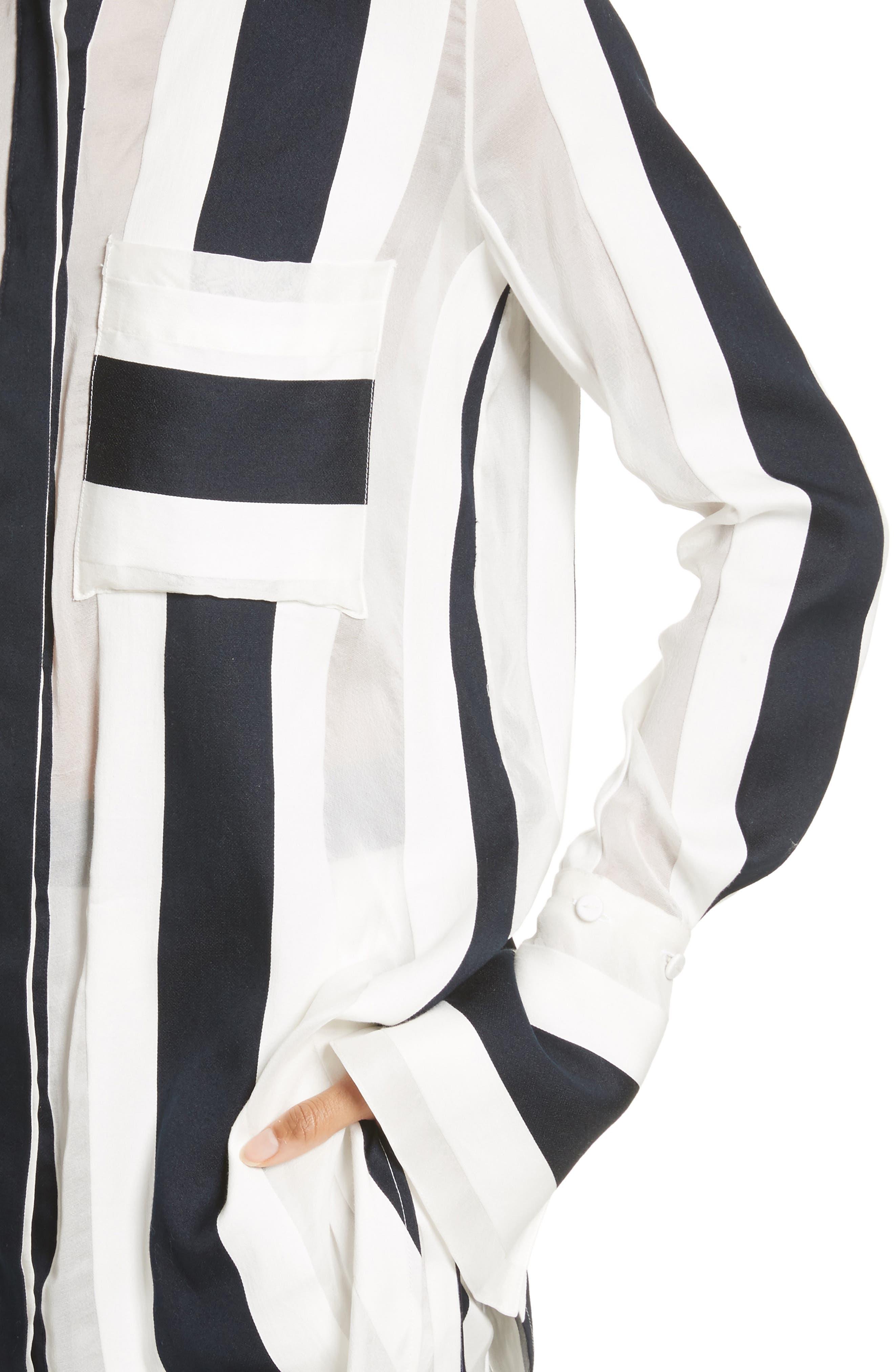 Cotton & Silk Stripe Jacquard Blouse,                             Alternate thumbnail 4, color,                             Black/ White