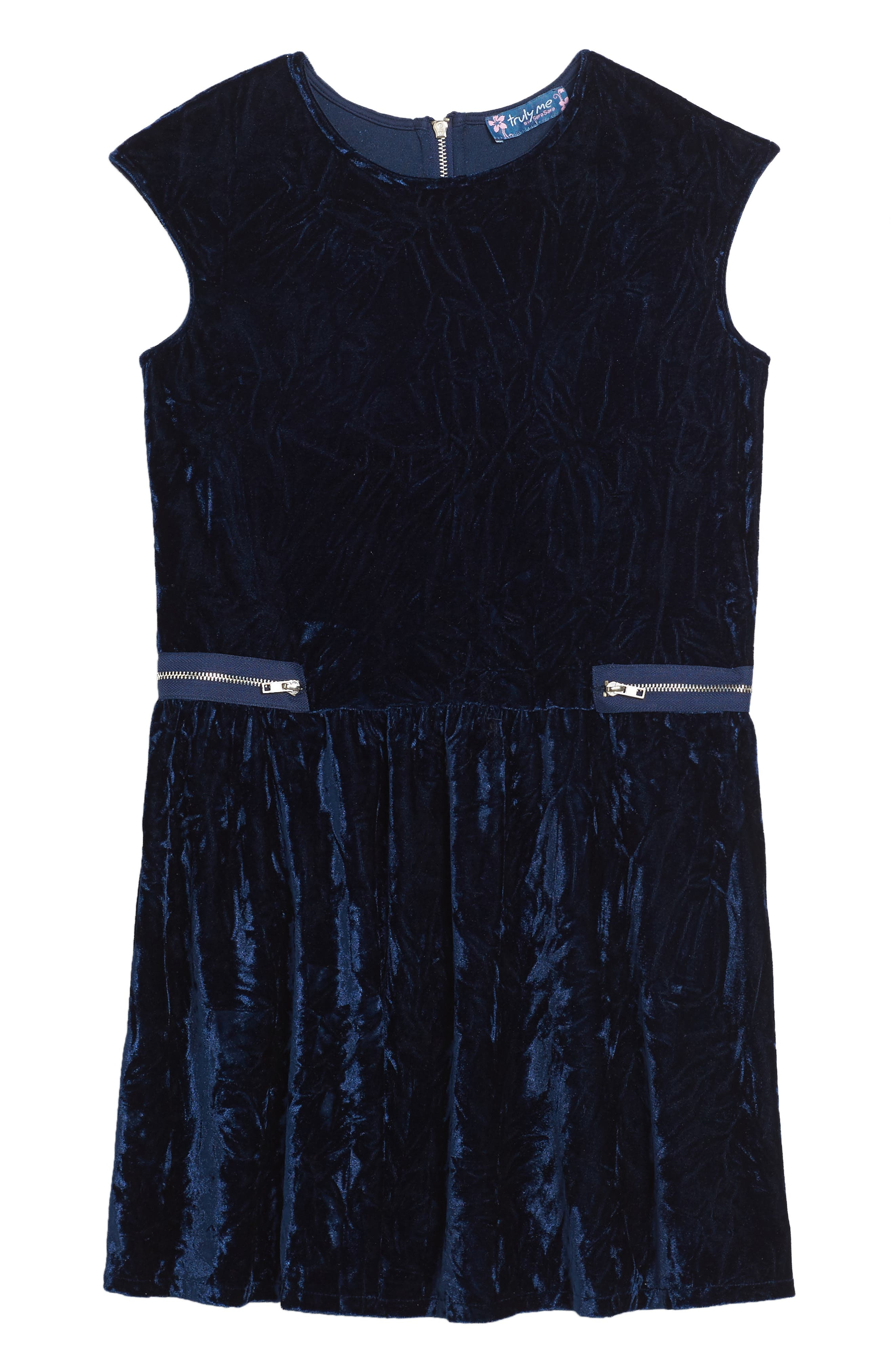Main Image - Truly Me Velvet Dress (Big Girls)