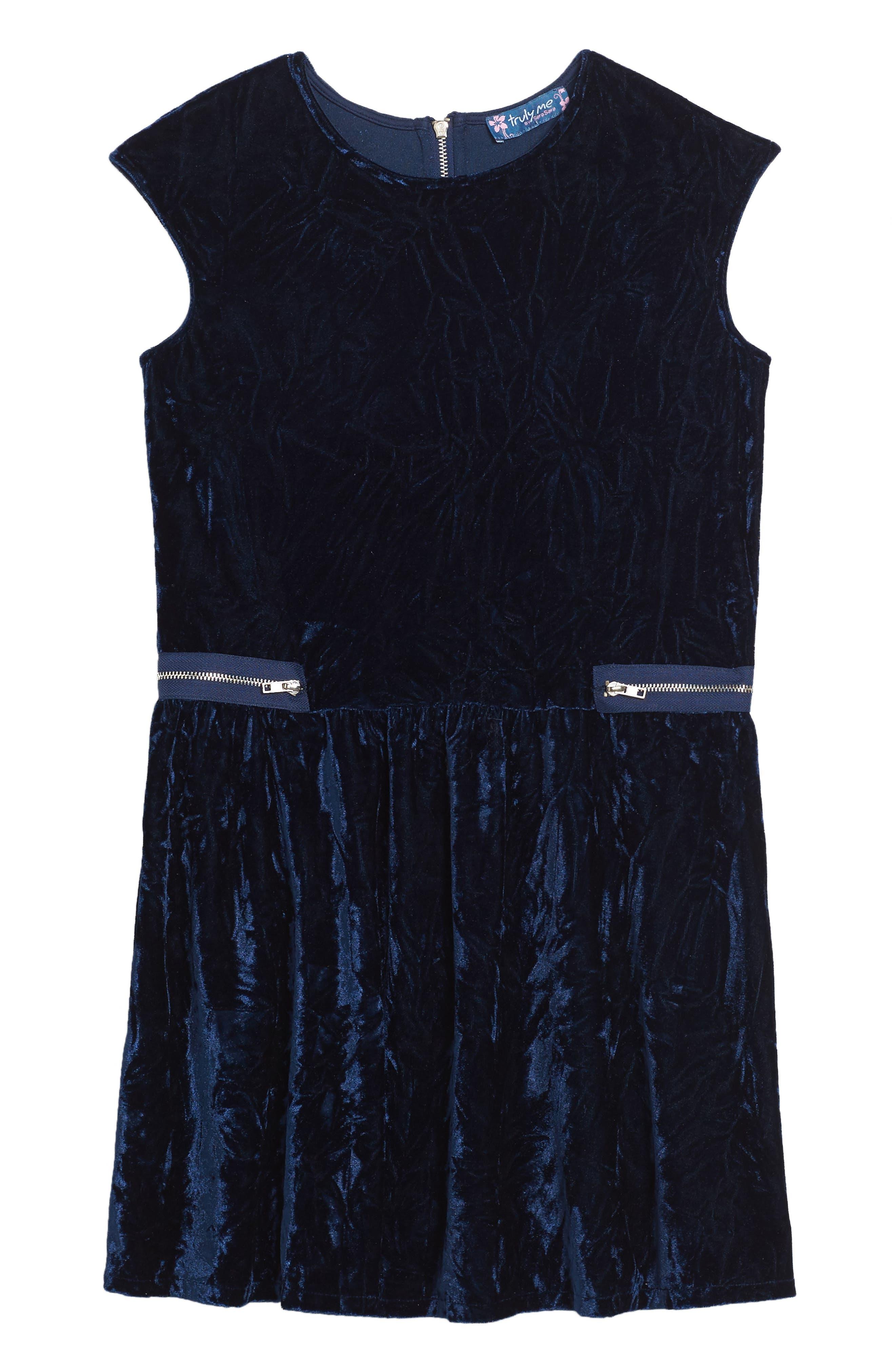 Velvet Dress,                         Main,                         color, Navy