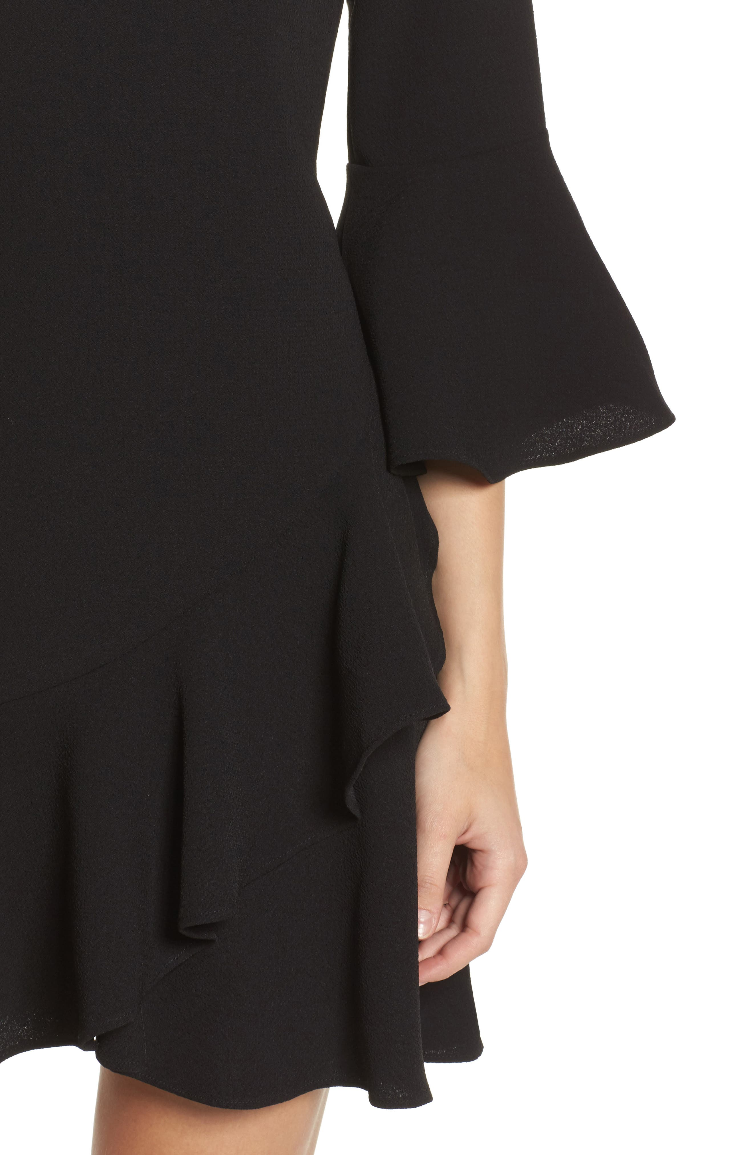Bell Sleeve Fit & Flare Dress,                             Alternate thumbnail 4, color,                             Black