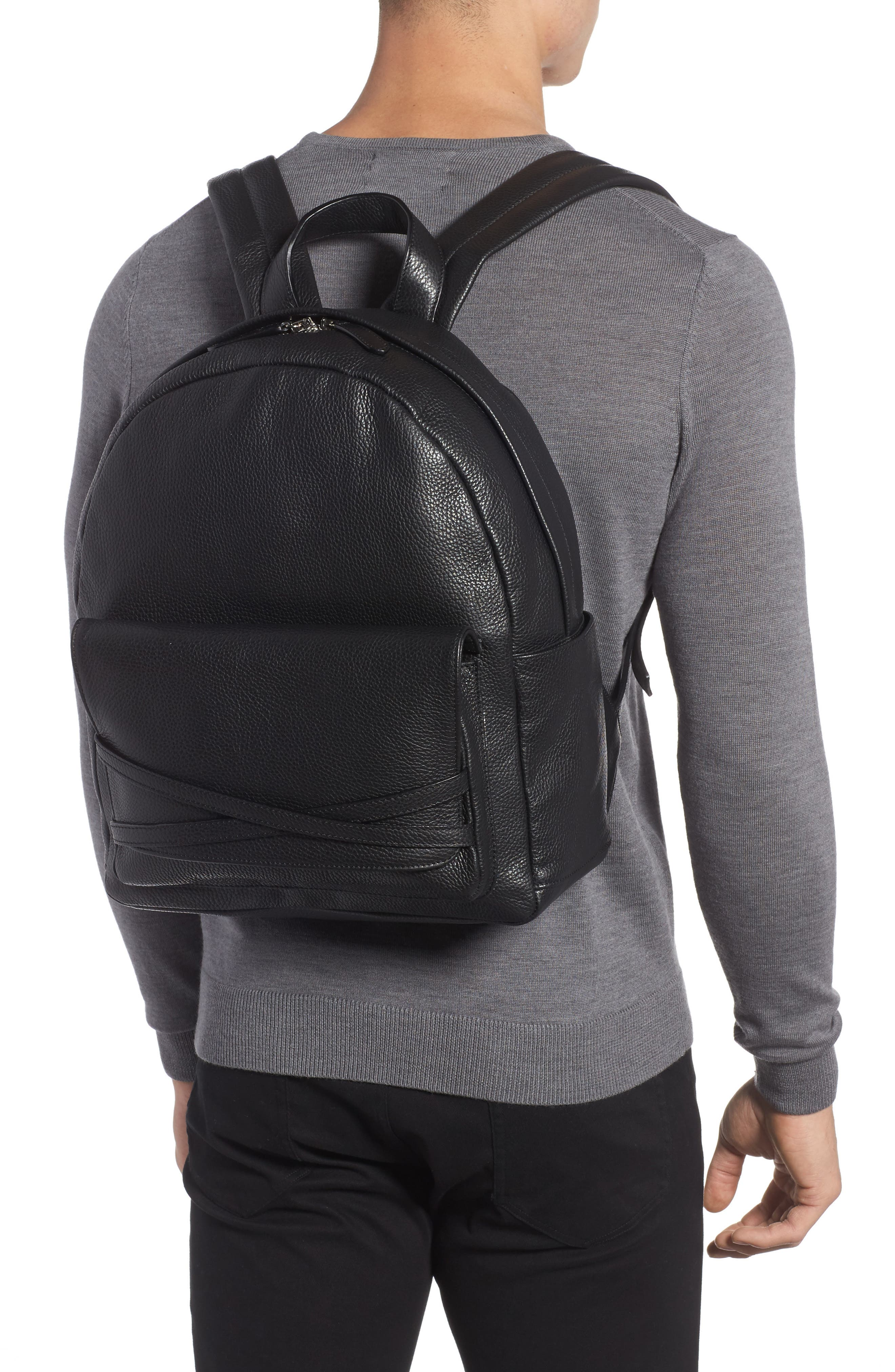 Leather Backpack,                             Alternate thumbnail 2, color,                             Black
