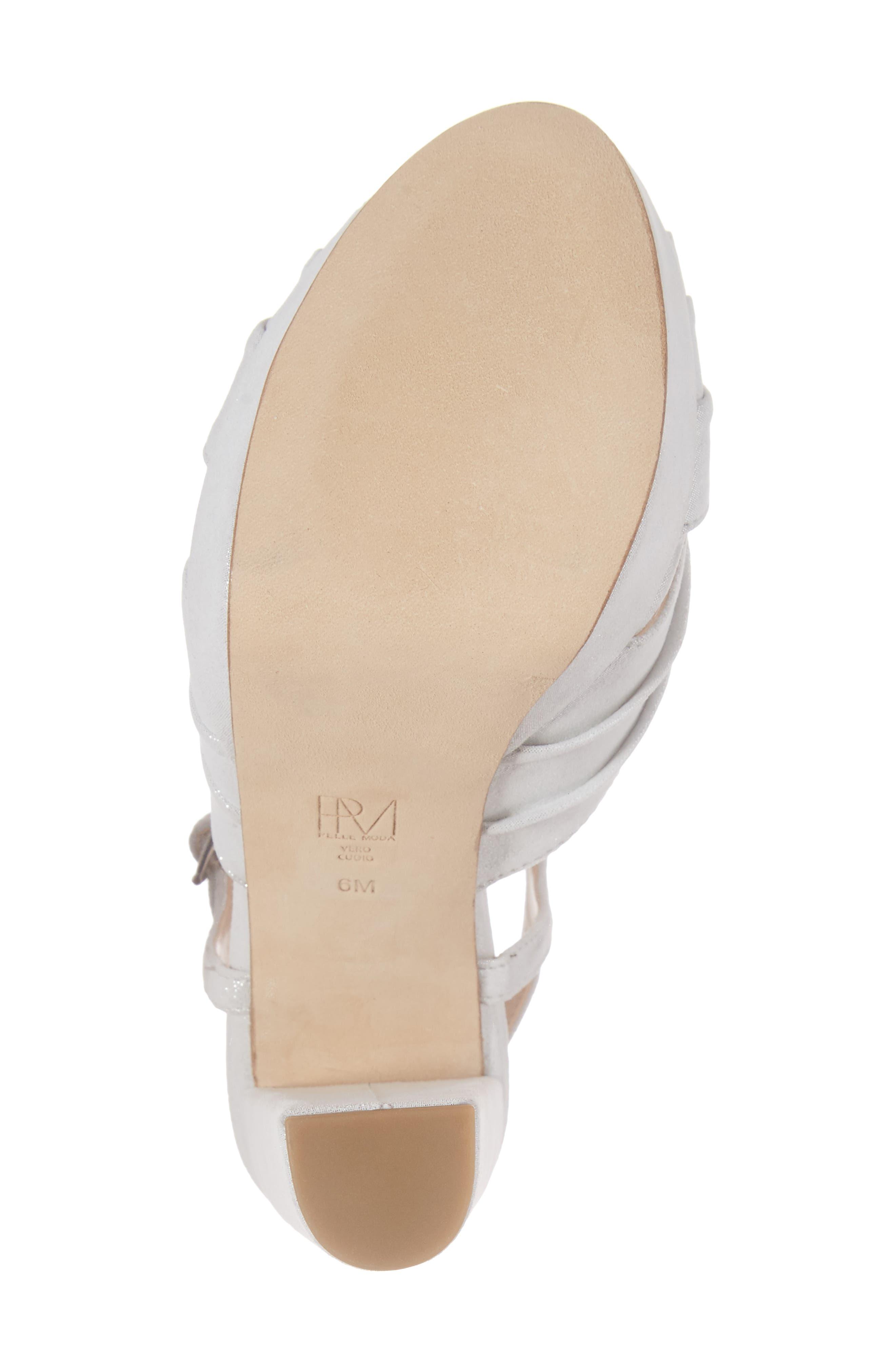 Palm Platform Sandal,                             Alternate thumbnail 6, color,                             Silver Leather