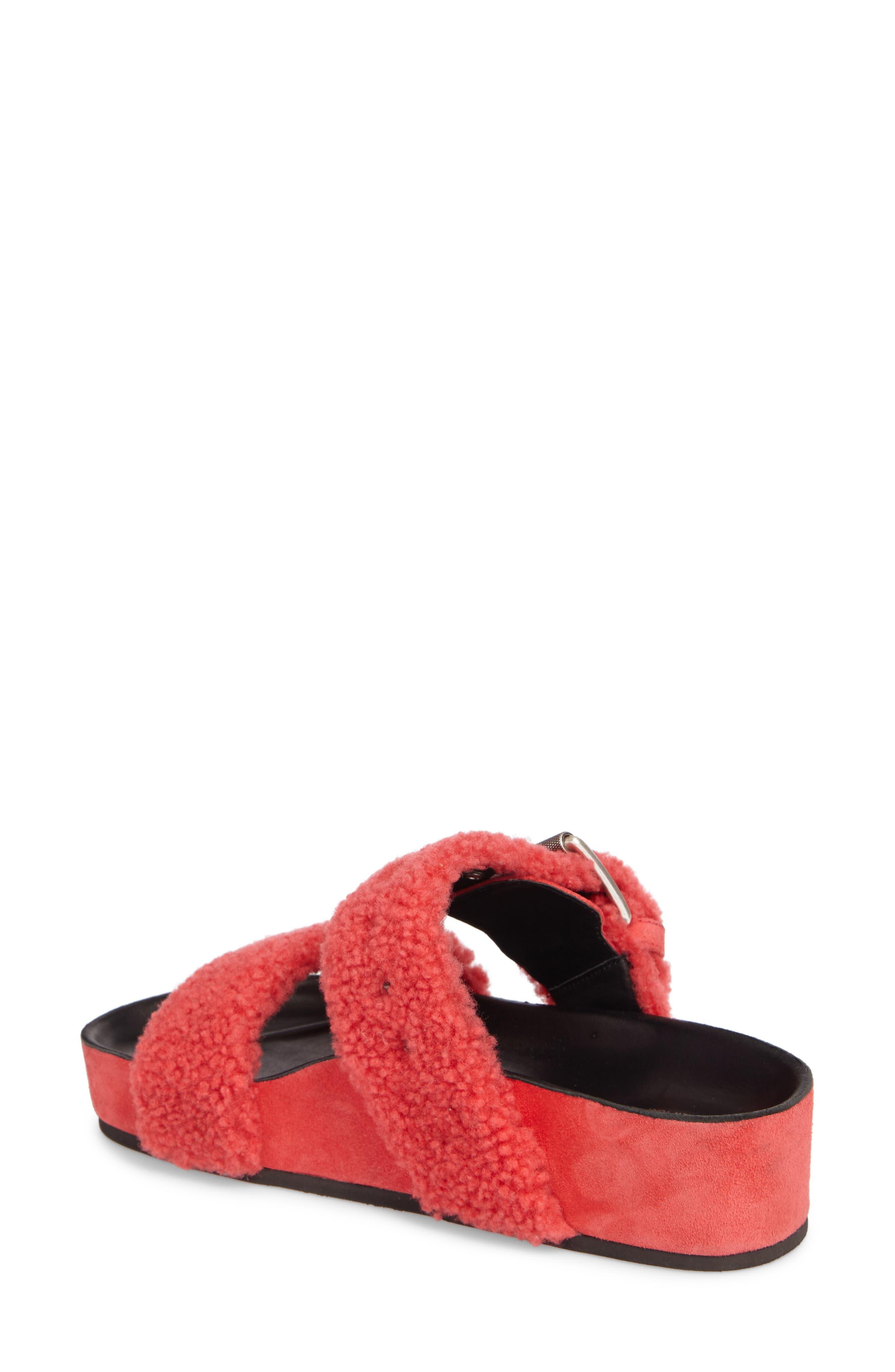 Evin Genuine Shearling Slide Sandal,                             Alternate thumbnail 2, color,                             Berry