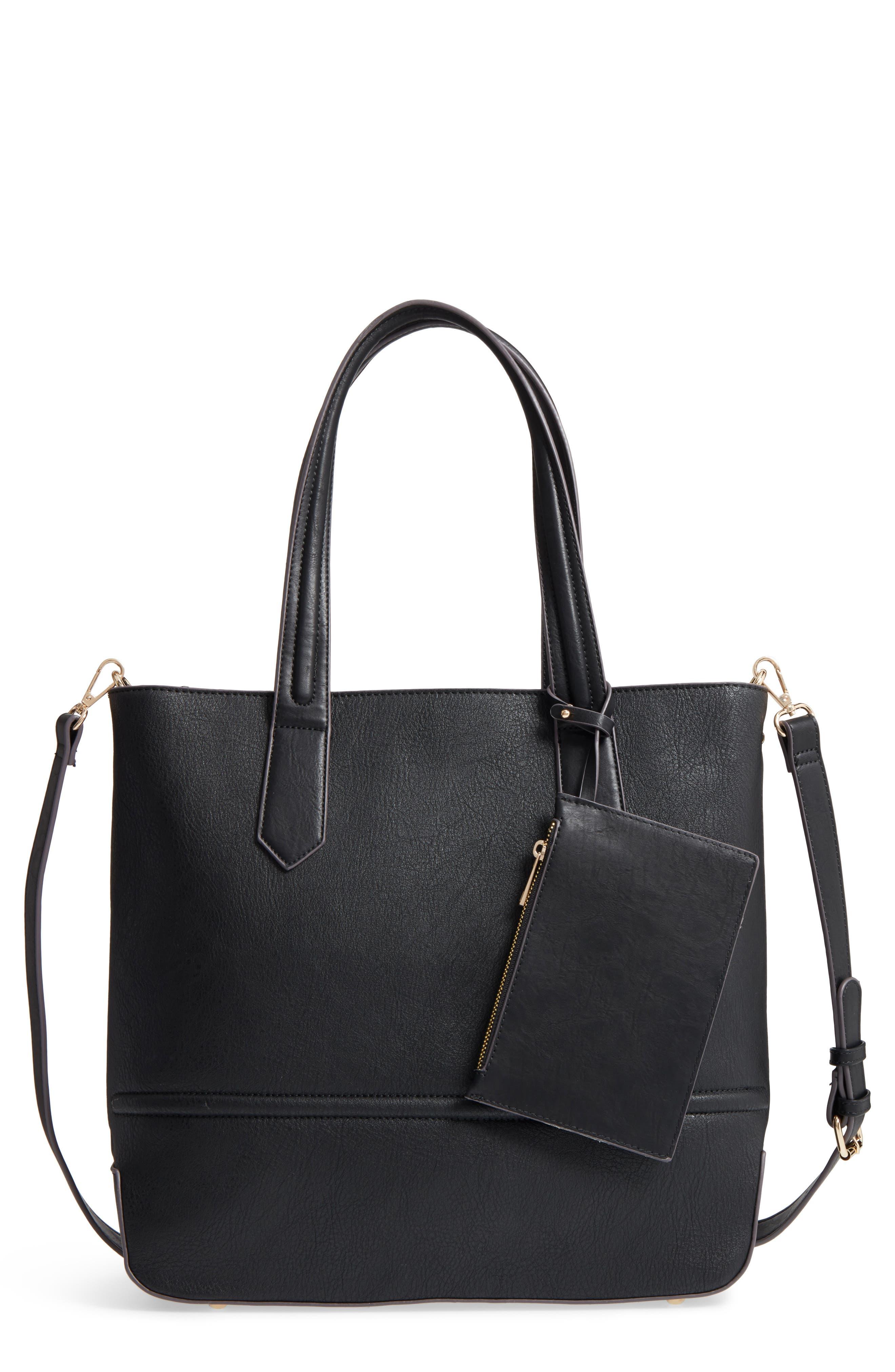 Faux Leather Tote,                         Main,                         color, Black