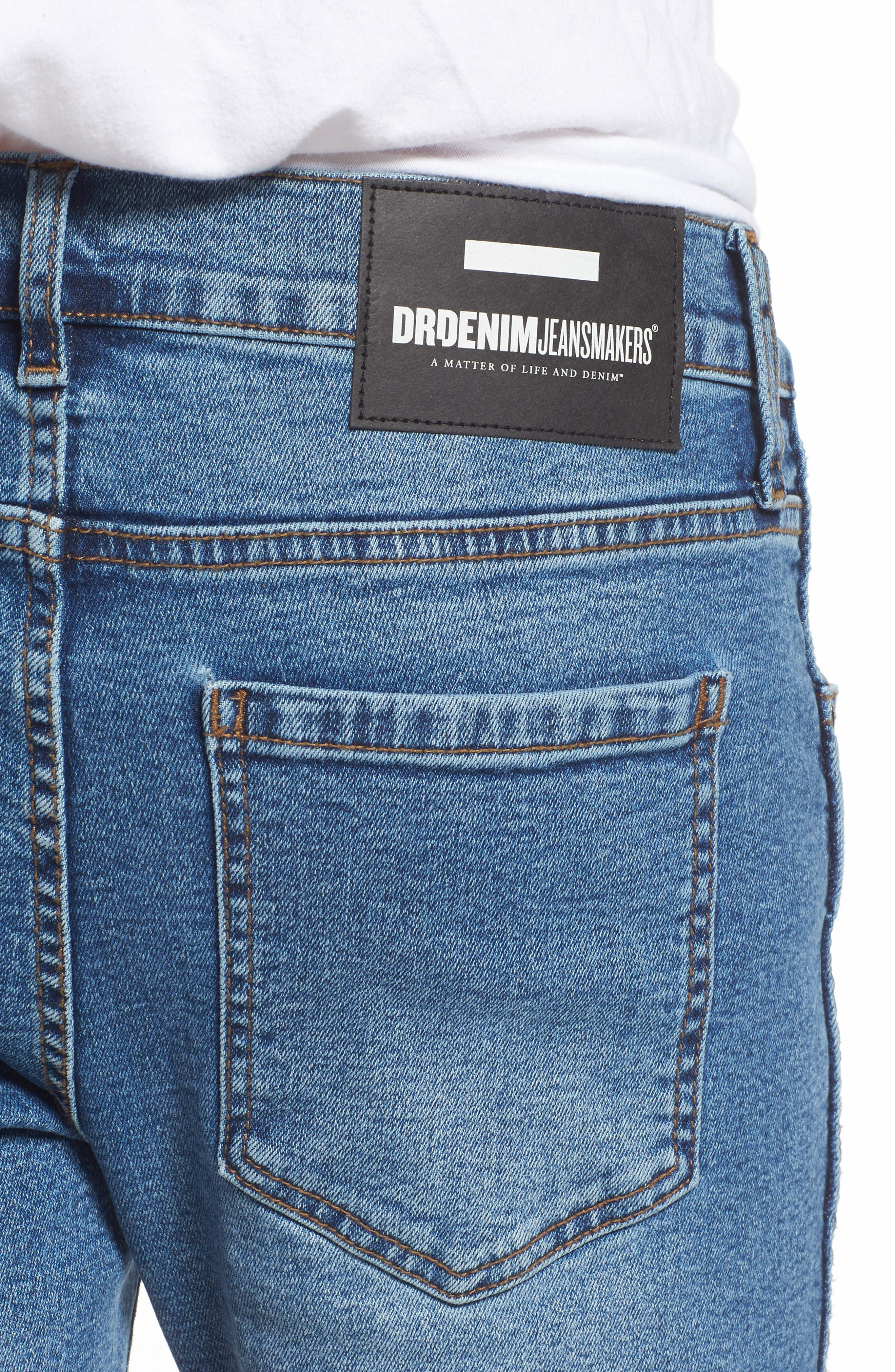 Snap Skinny Fit Jeans,                             Alternate thumbnail 4, color,                             Light Stone Destroyed