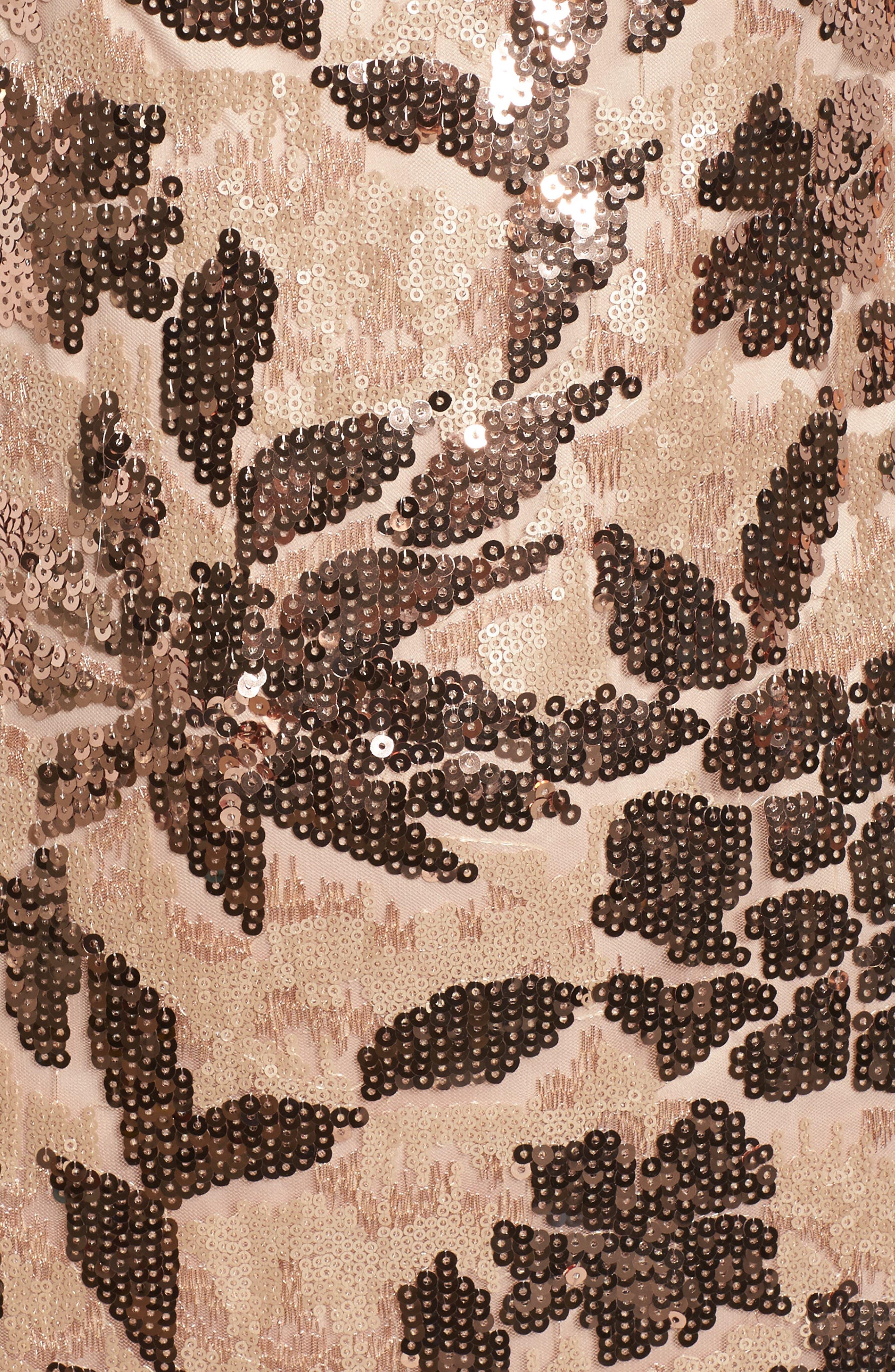 Sequin Body-Con Dress,                             Alternate thumbnail 5, color,                             Rose Gold