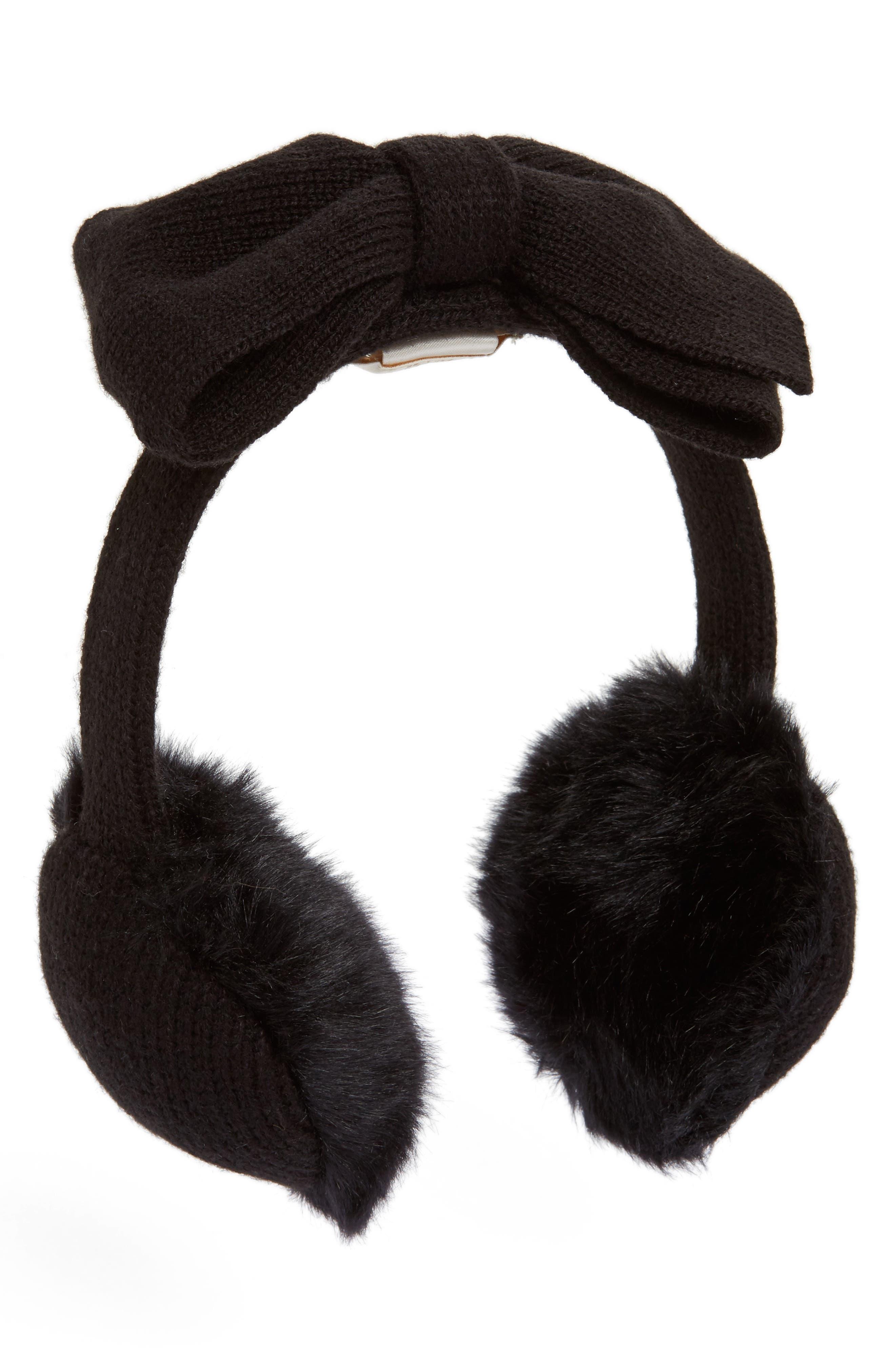 kate spade new york half bow faux fur earmuffs