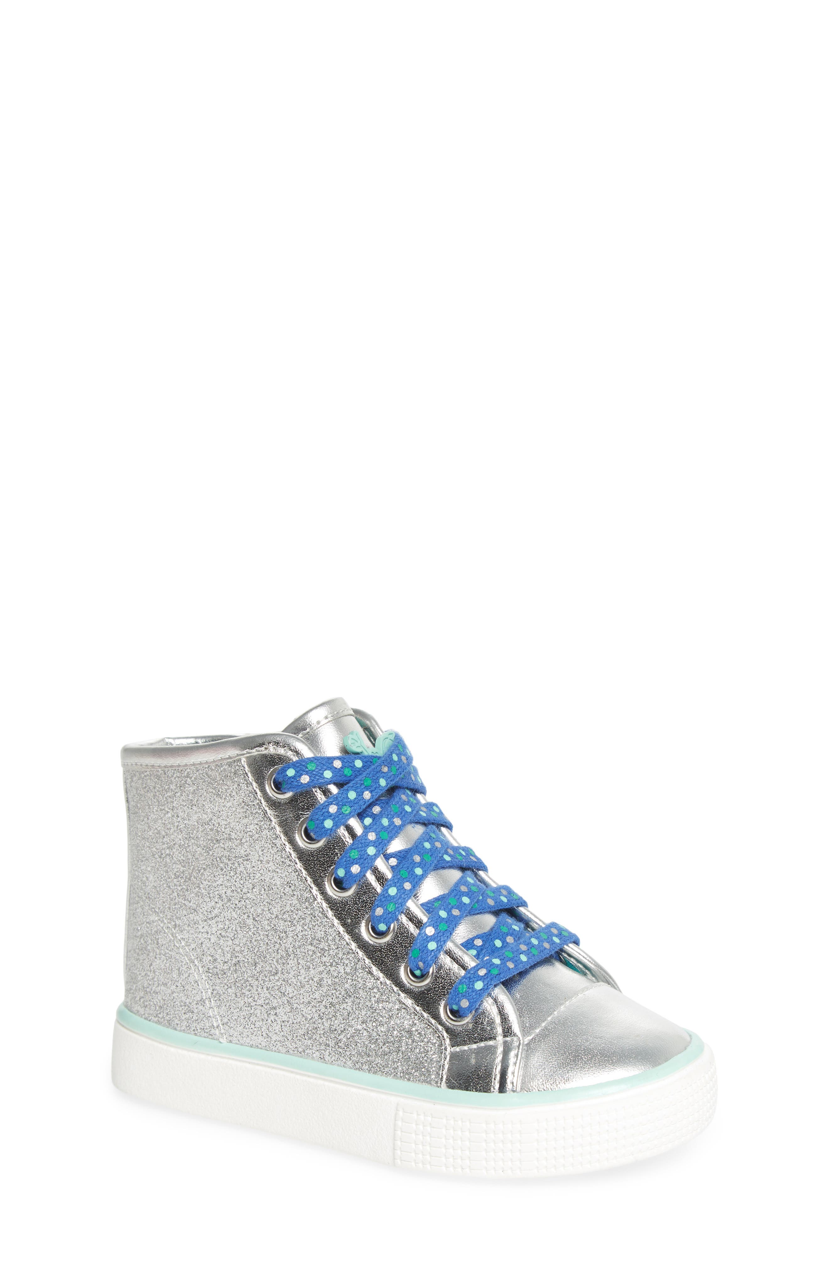 Camille Glitter High Top Sneaker,                             Main thumbnail 1, color,                             Silver