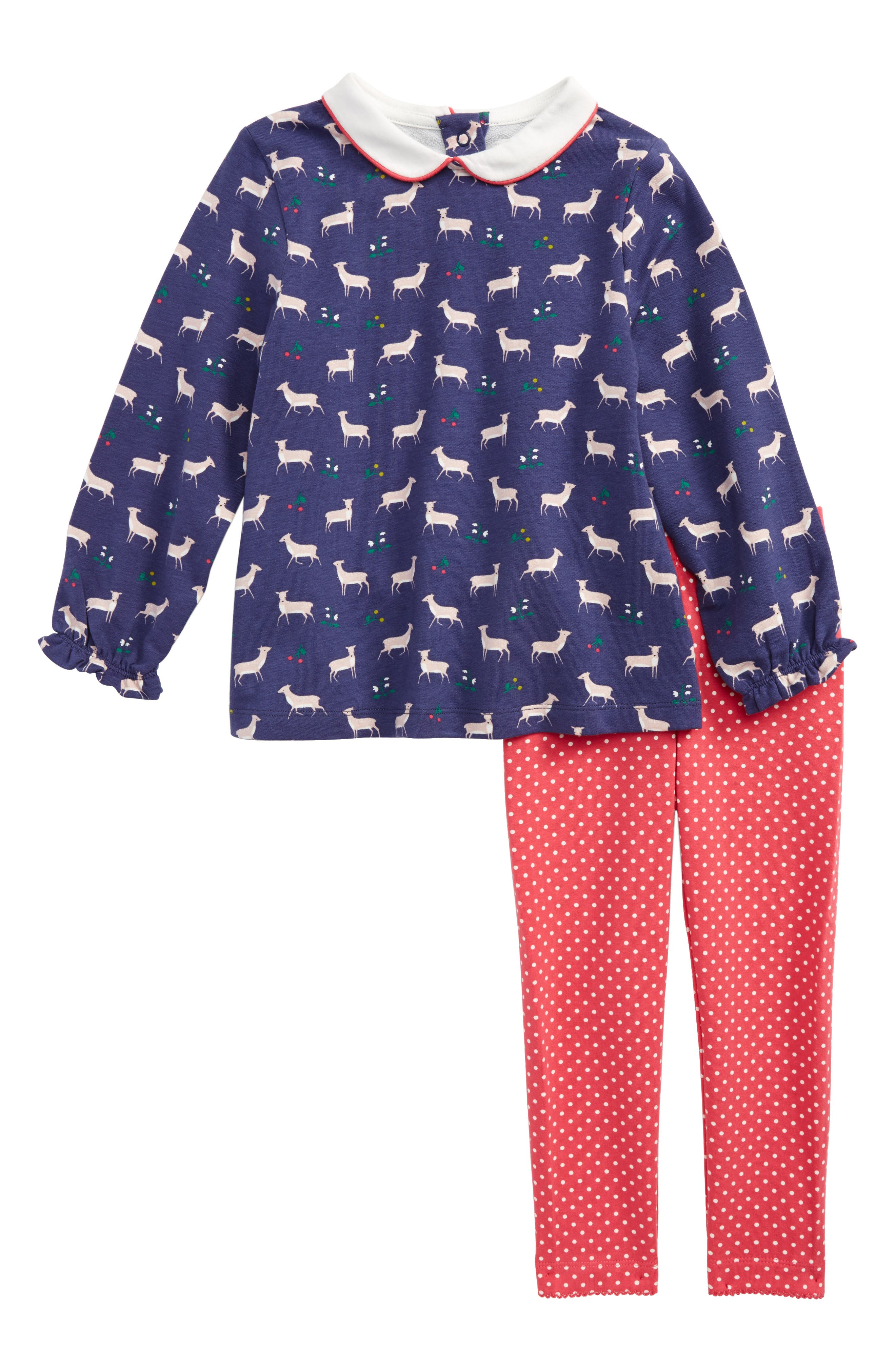 Pretty Winter Tunic & Leggings Set,                             Main thumbnail 1, color,                             Naval Blue Baby Fawn