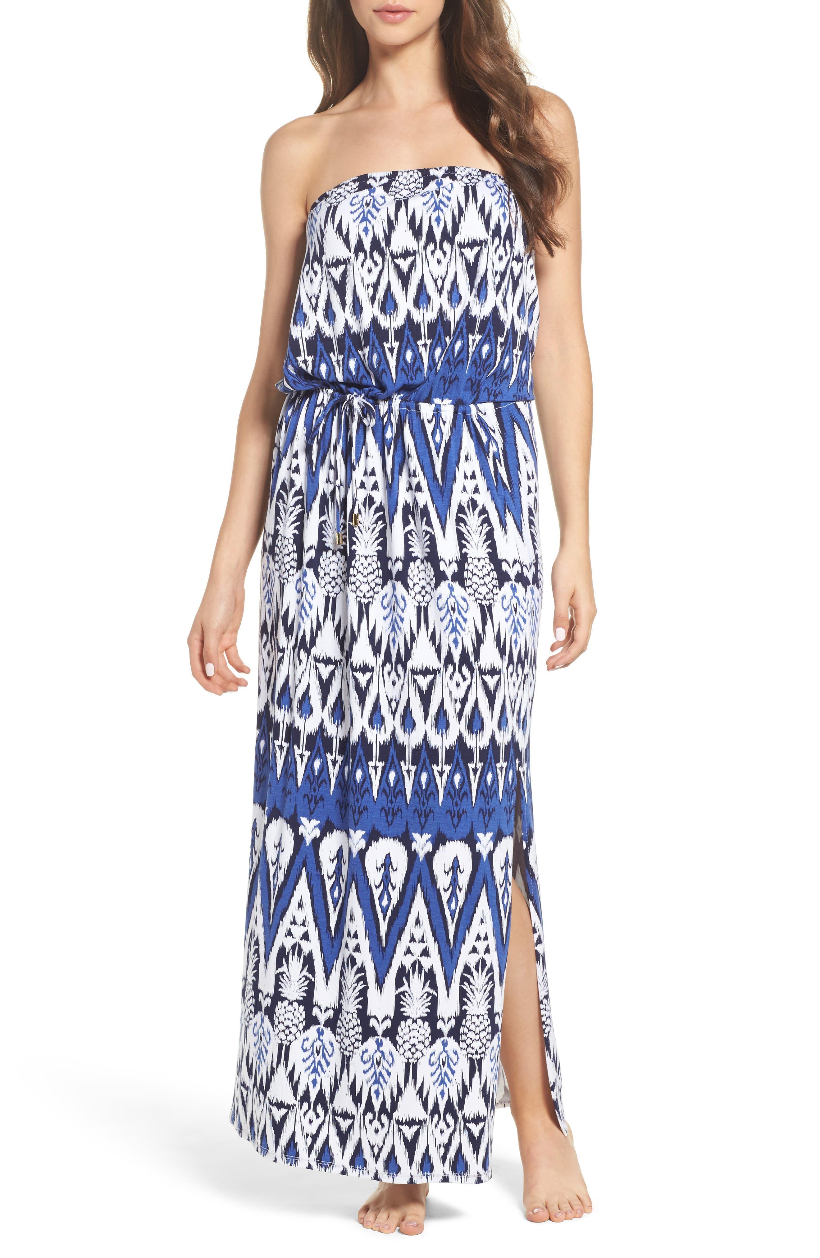 Pineapple Ikat Cover-Up Bandeau Maxi Dress,                         Main,                         color, Dark Sanibel