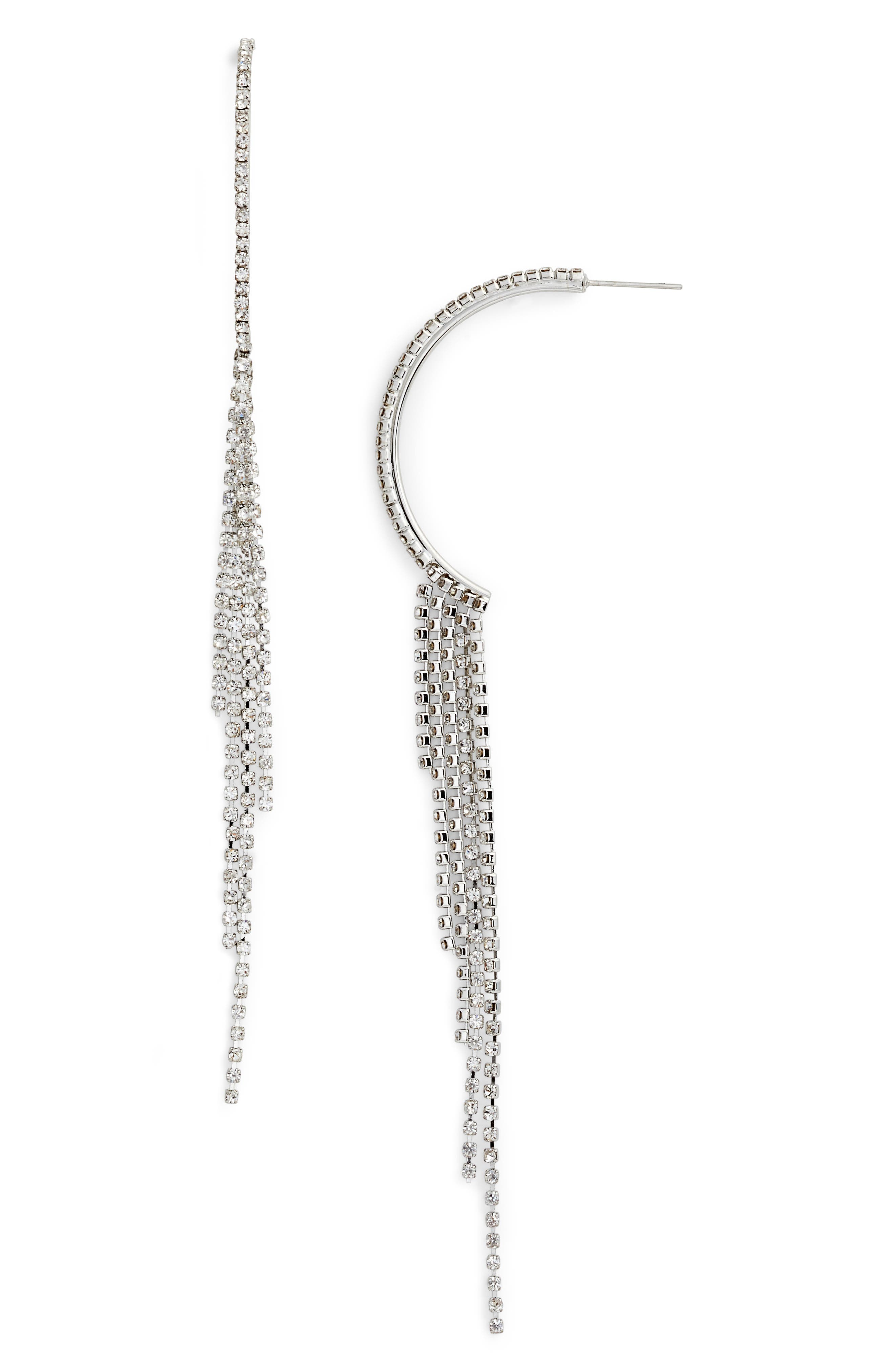 Crystal Fringe Earrings,                         Main,                         color, Clear/ Silver