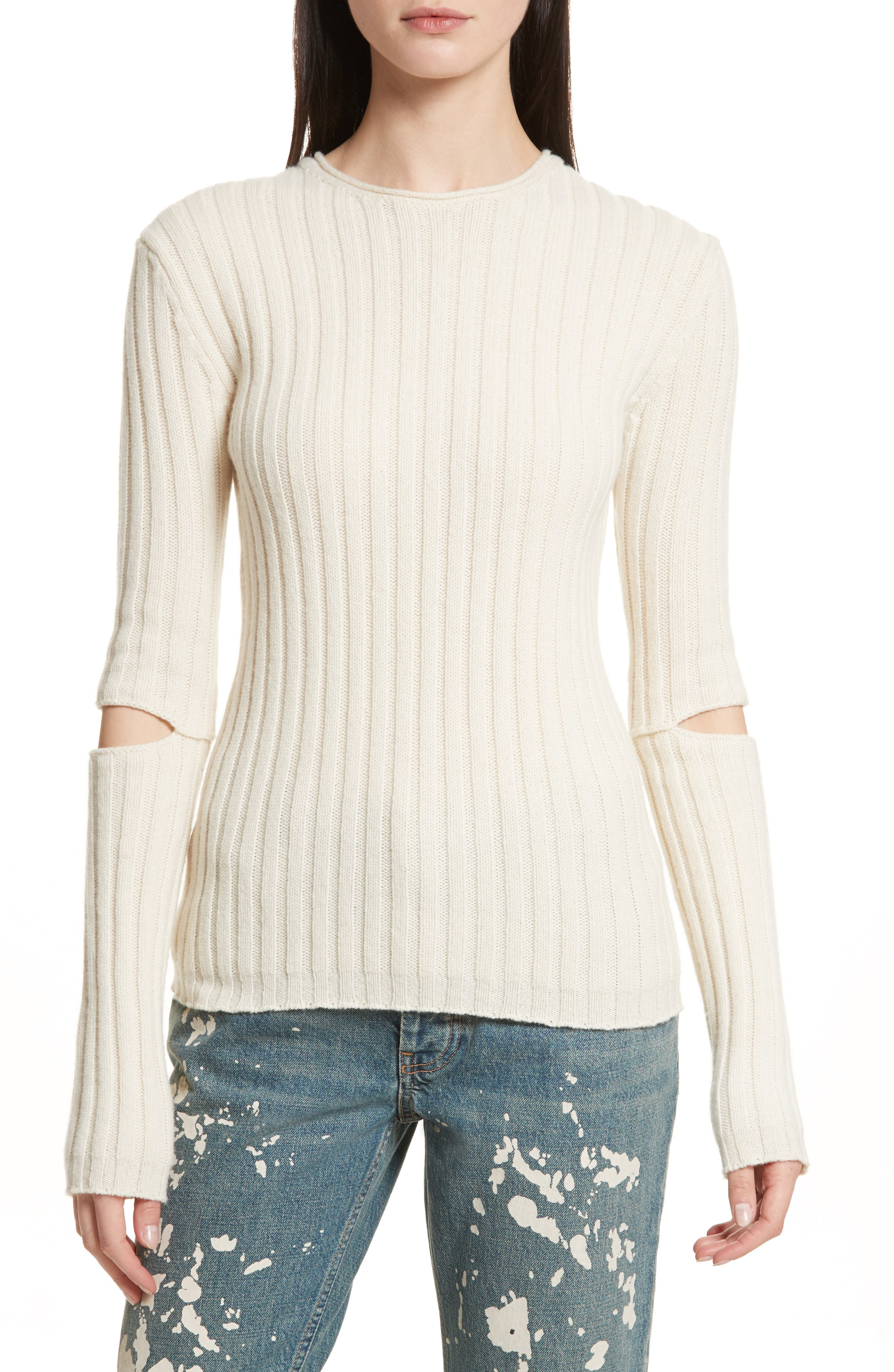 Re-Edition Elbow Cutout Lambswool Sweater,                         Main,                         color, Ivory