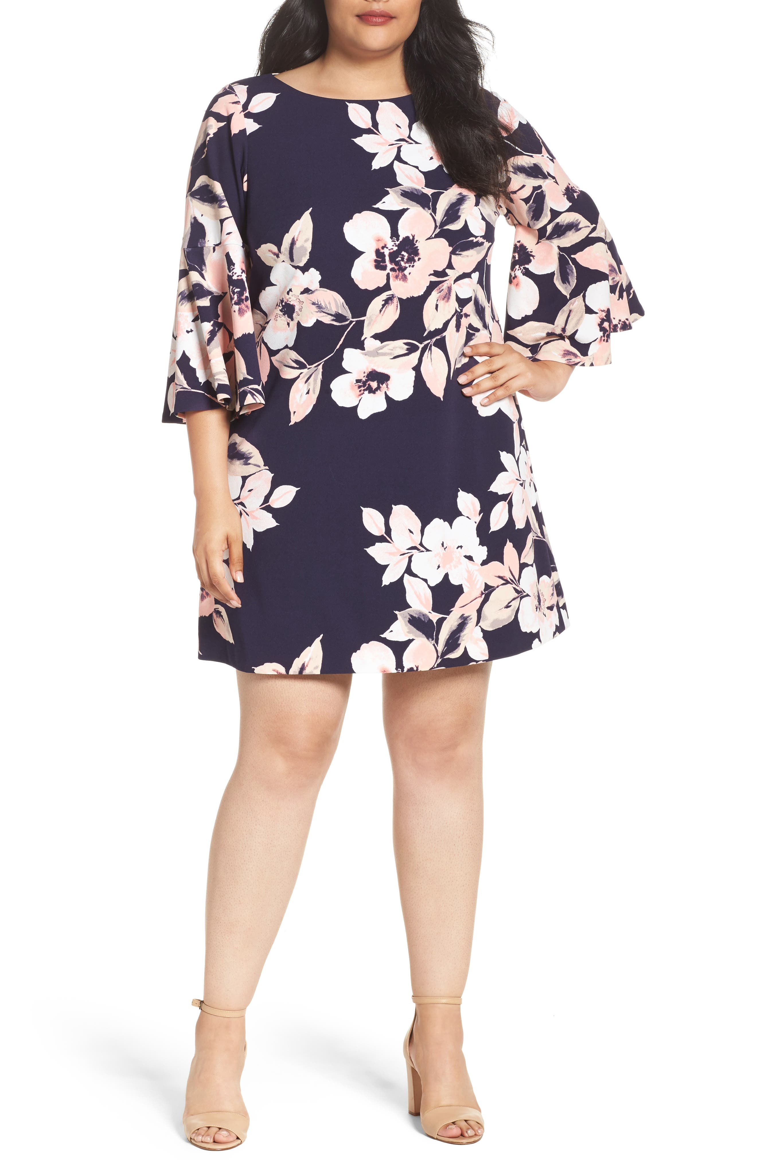 Bell Cuff Floral Shift Dress,                         Main,                         color, Navy