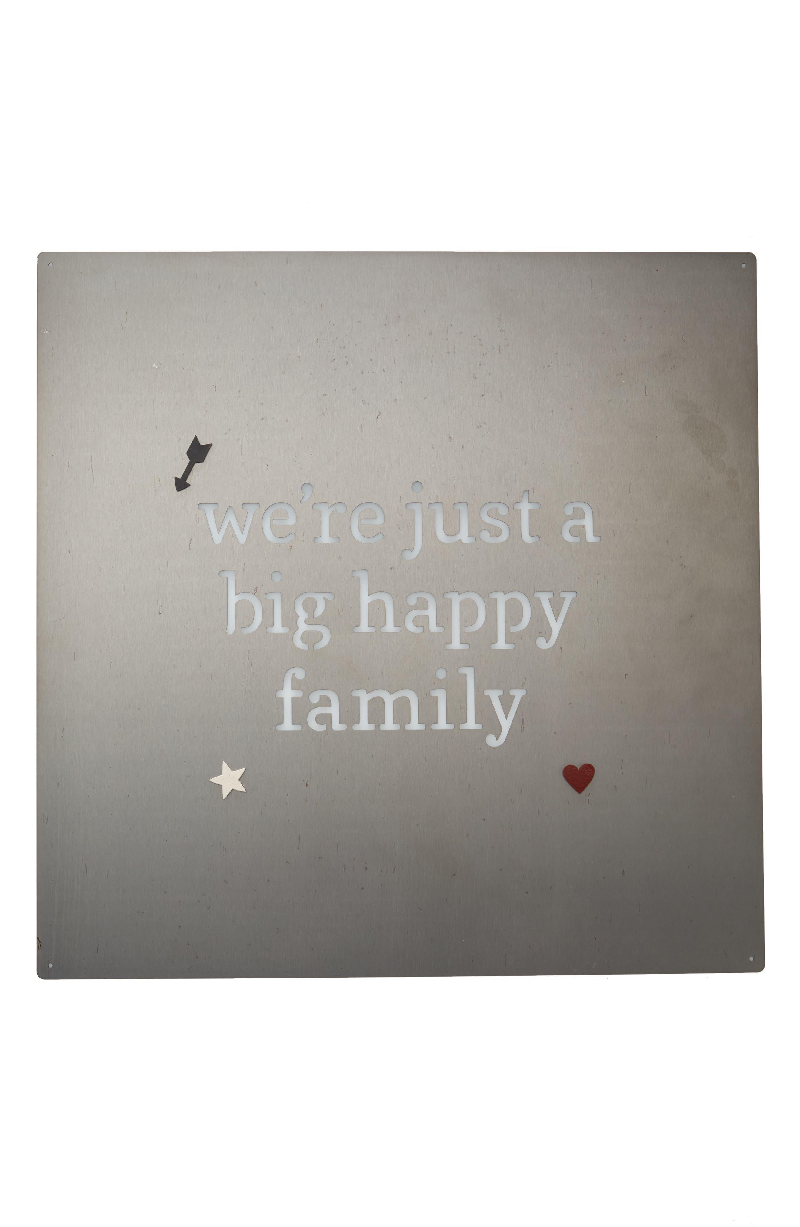 Big Happy Family Metal Art Board,                         Main,                         color, Silver