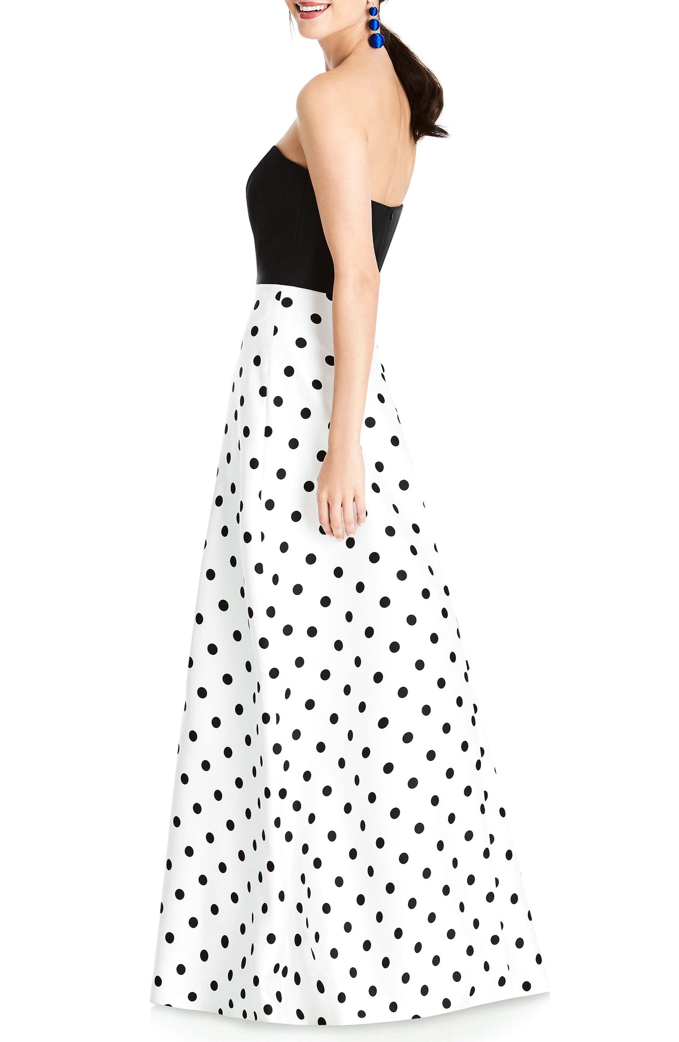 Strapless Dot Block Sateen Gown,                             Alternate thumbnail 2, color,                             Polka Dot