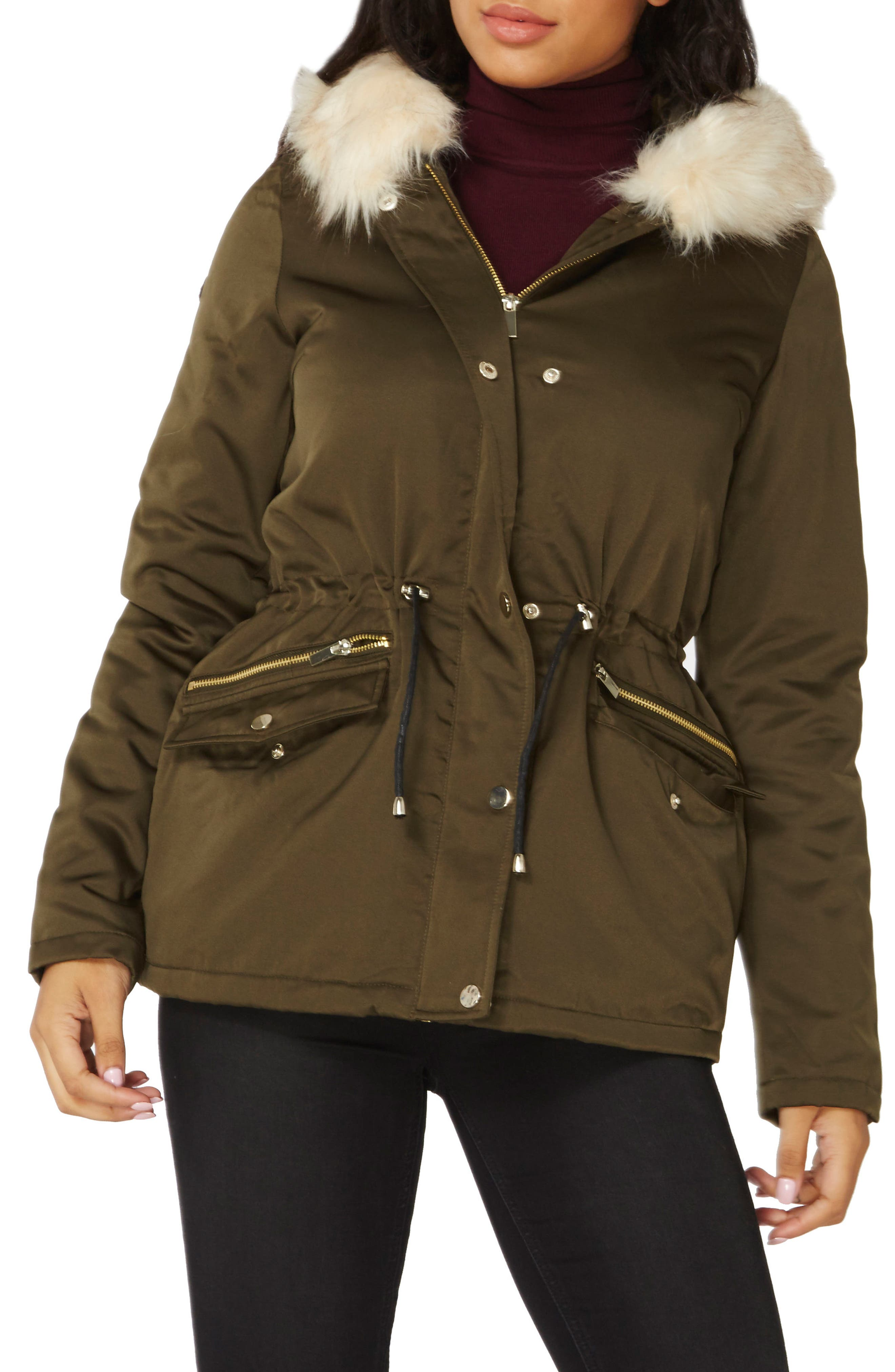 Hooded Parka with Removable Faux Fur Trim,                         Main,                         color, Olive