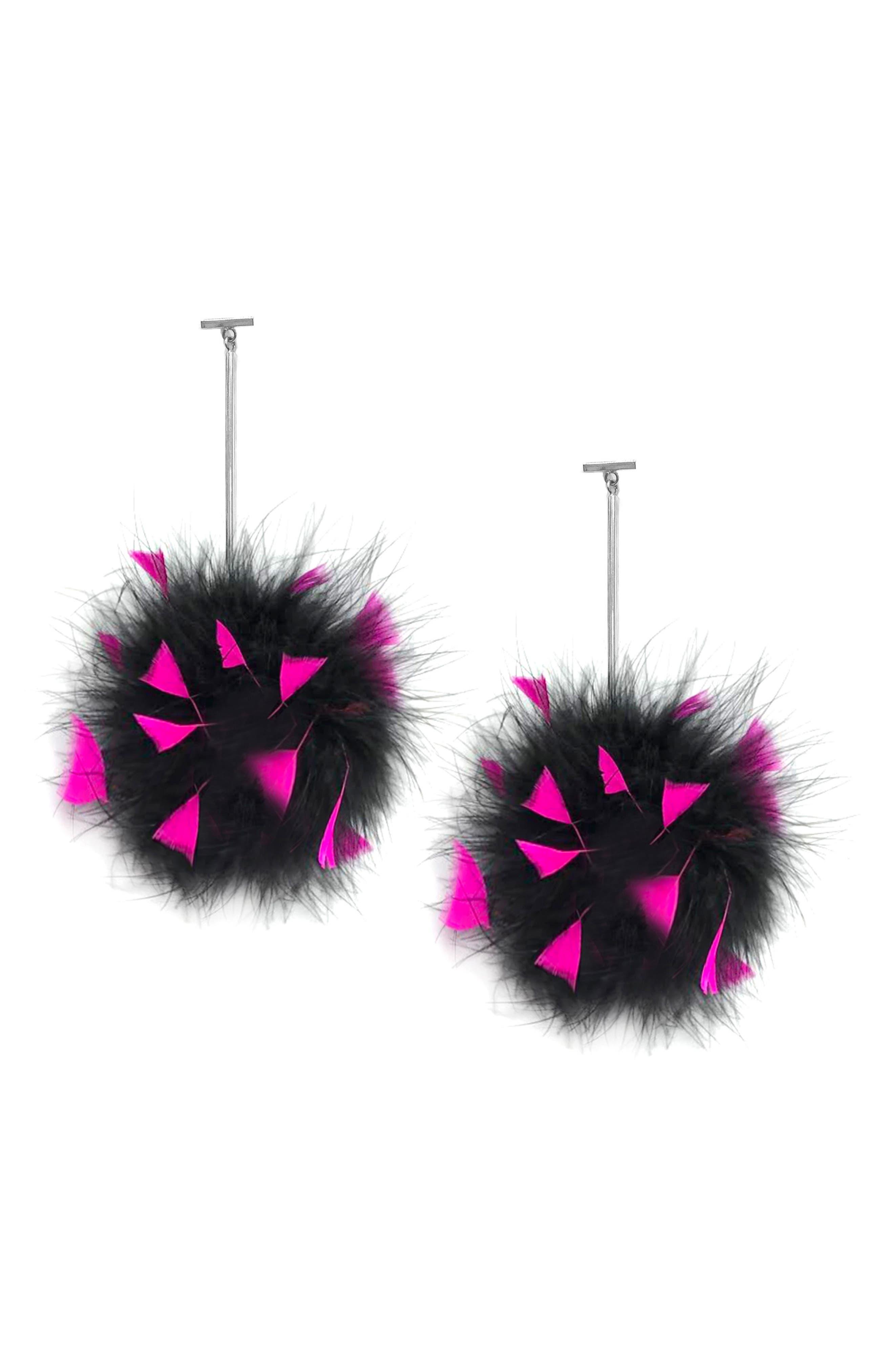 Marabou Pompom Drop Earrings,                             Main thumbnail 1, color,                             Silver/ Black/ Pink