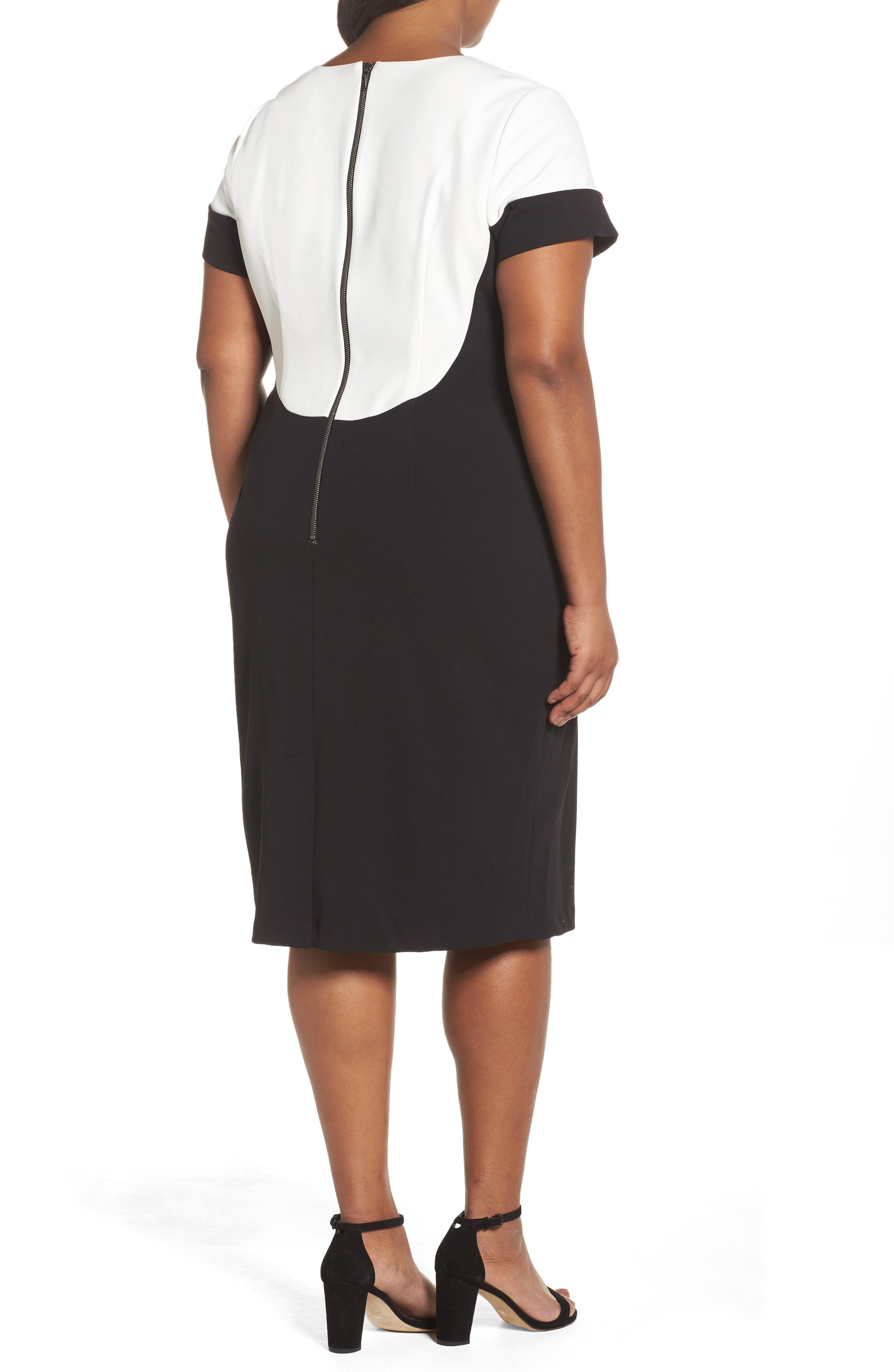 Stretch Crepe Sheath Dress,                             Alternate thumbnail 2, color,                             Black/ Ivory