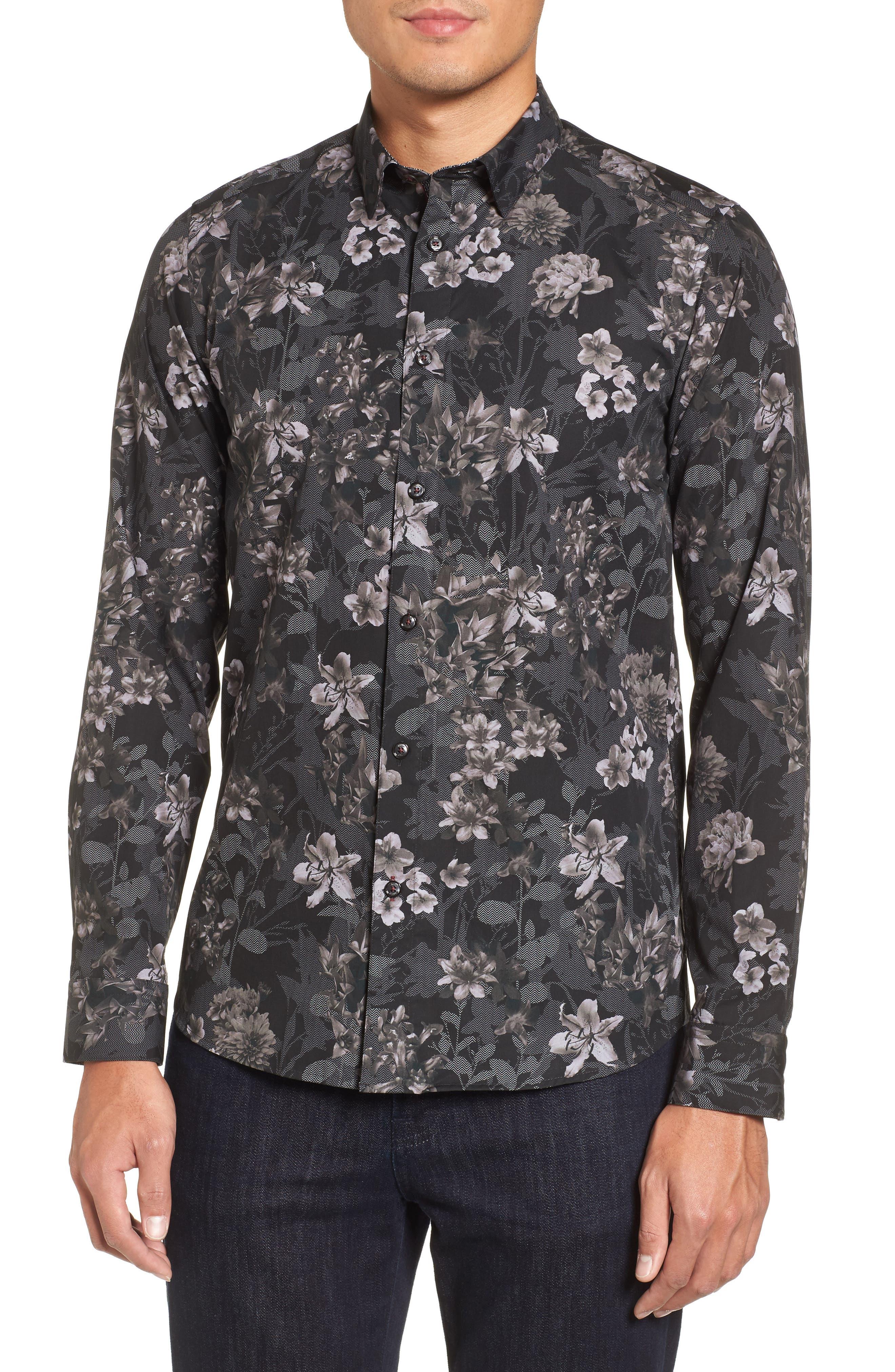 Ted Baker Konkord Slim Fit Floral Print Sport Shirt,                         Main,                         color, Black