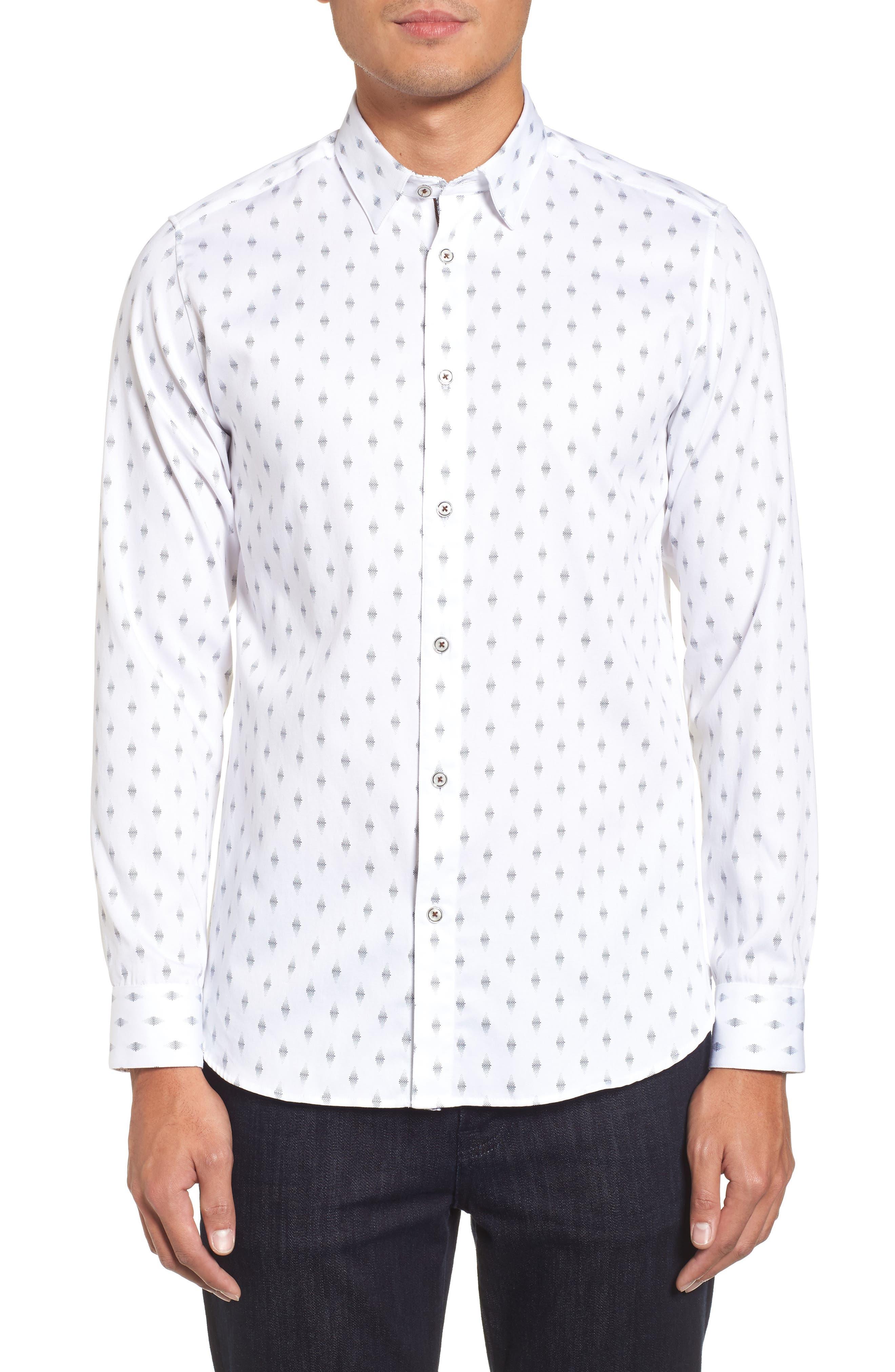 Monico Slim Fit Dot Diamond Sport Shirt,                         Main,                         color, White