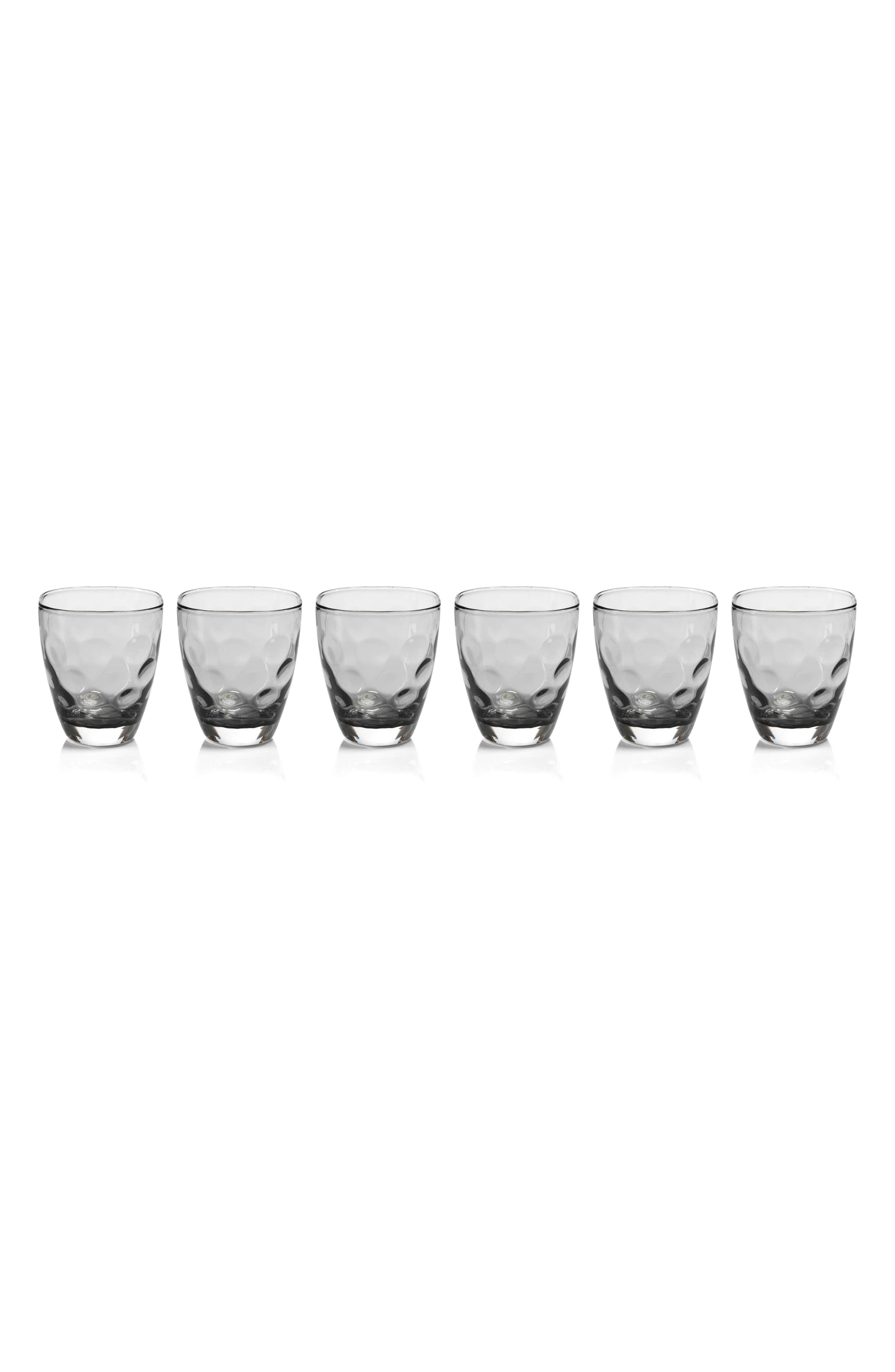 Dimpled Set of 6 Double Old Fashioned Glasses,                             Main thumbnail 1, color,                             Clear/ Grey
