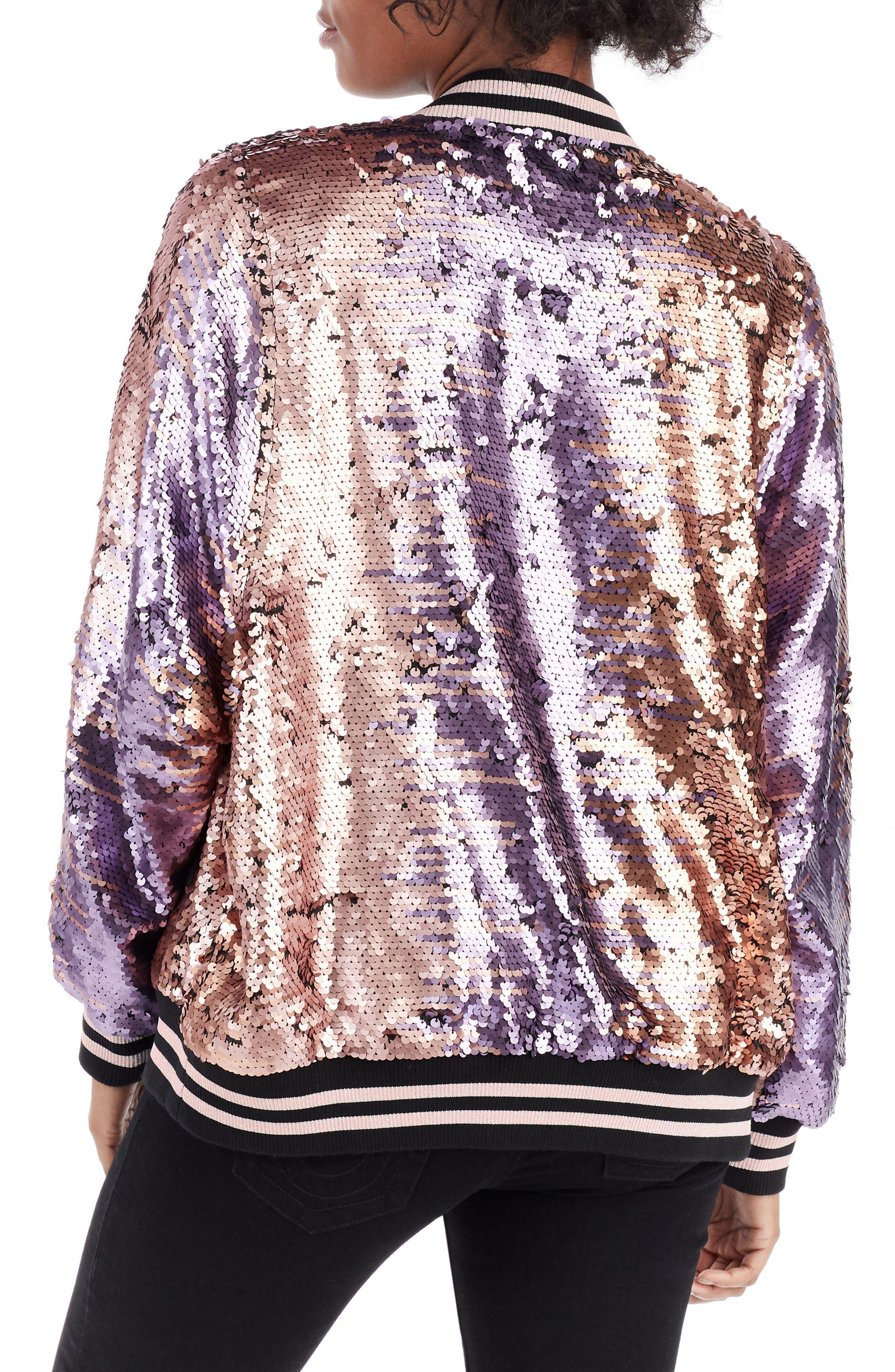 Pailette Bomber Jacket,                             Alternate thumbnail 3, color,                             Blush Purple