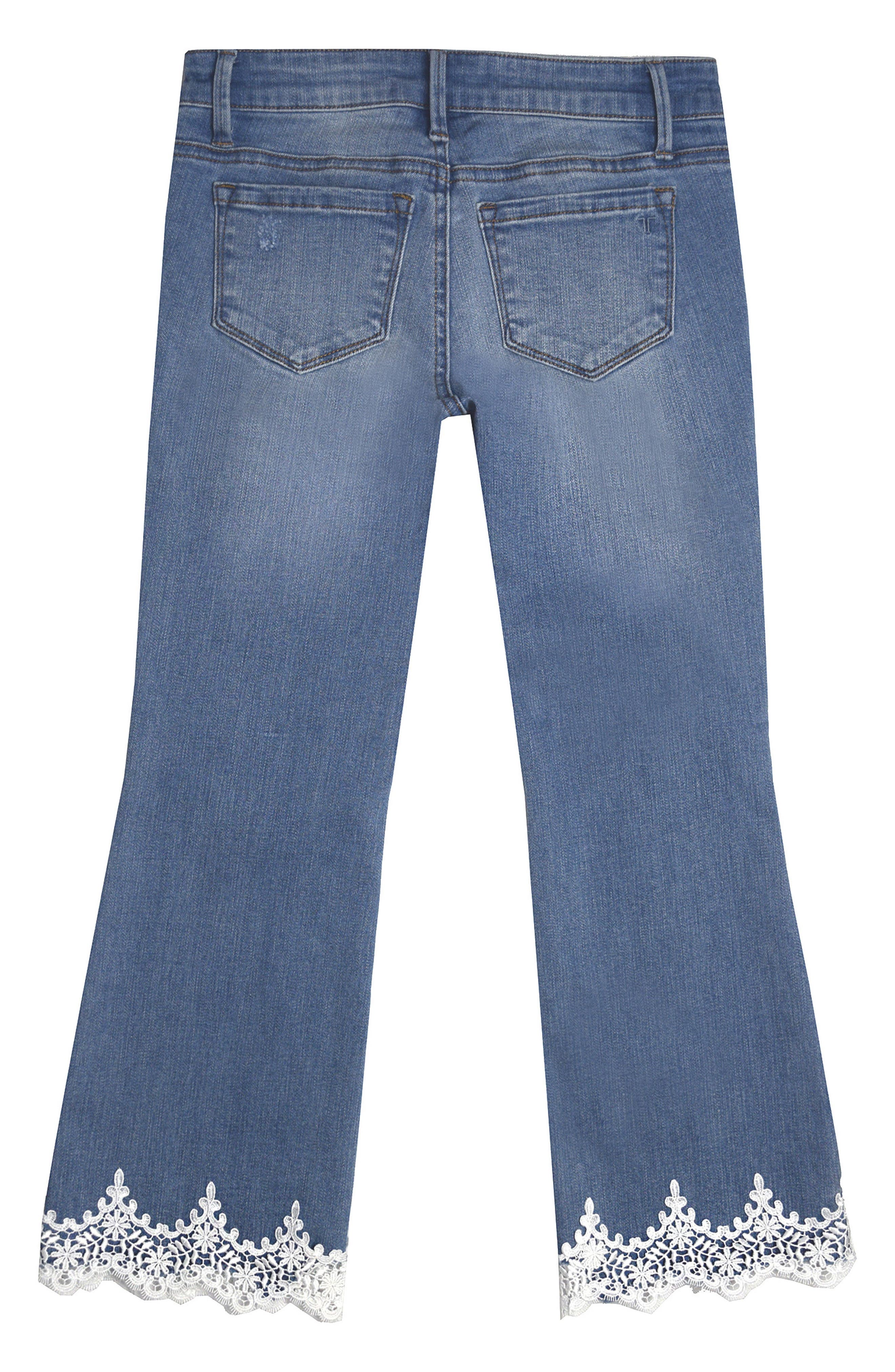 Alternate Image 2  - Tractr Lace Hem Jeans (Big Girls)