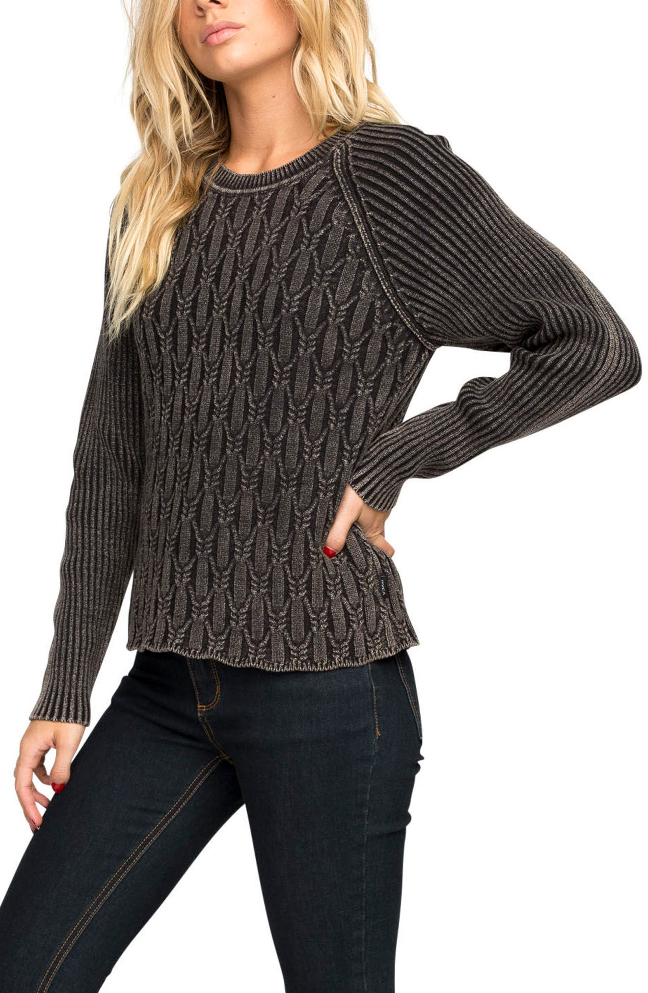 Chained Cotton Sweater,                             Alternate thumbnail 4, color,                             Black