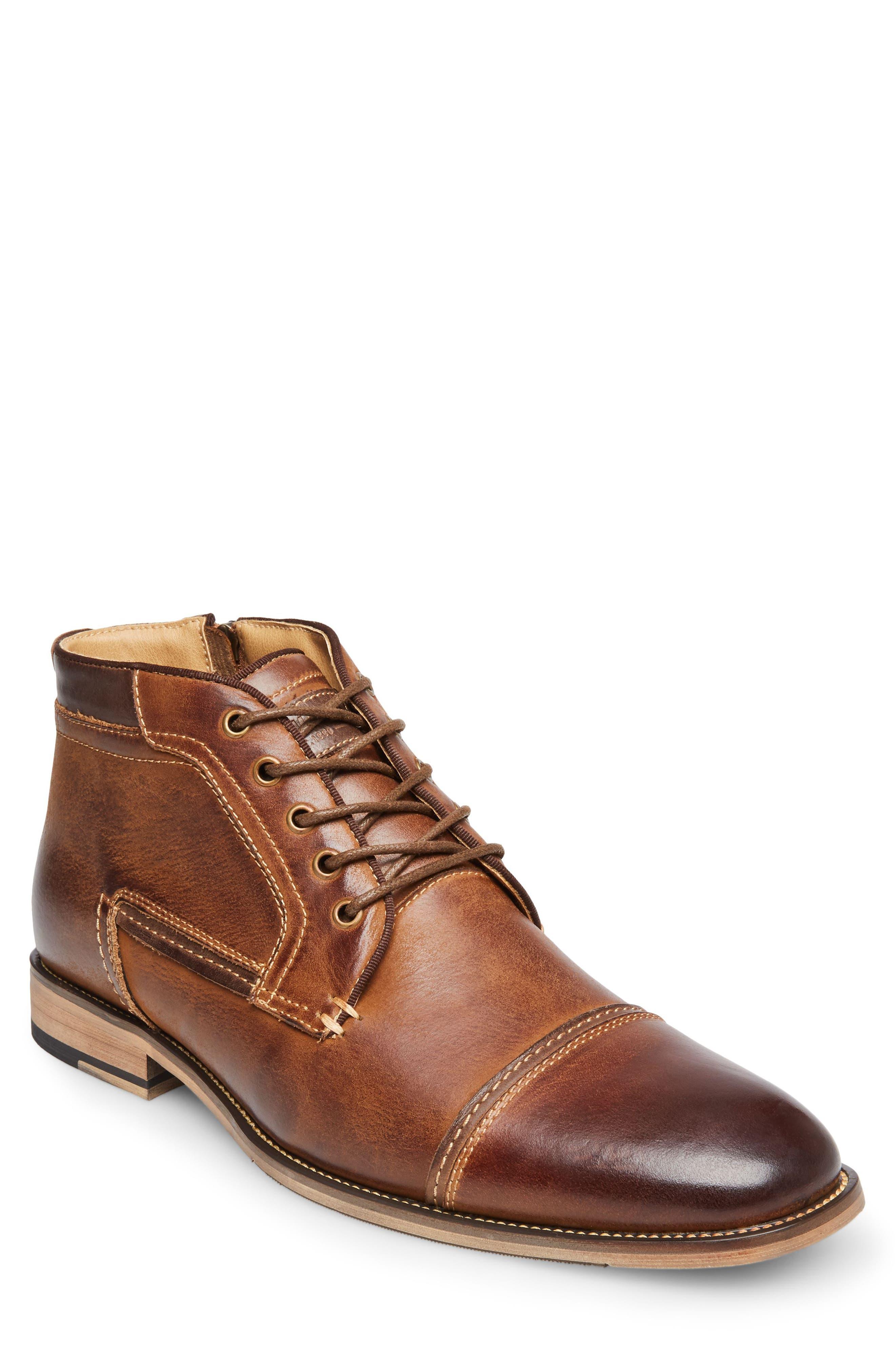 Joyce Cap Toe Boot,                         Main,                         color, Dark Tan