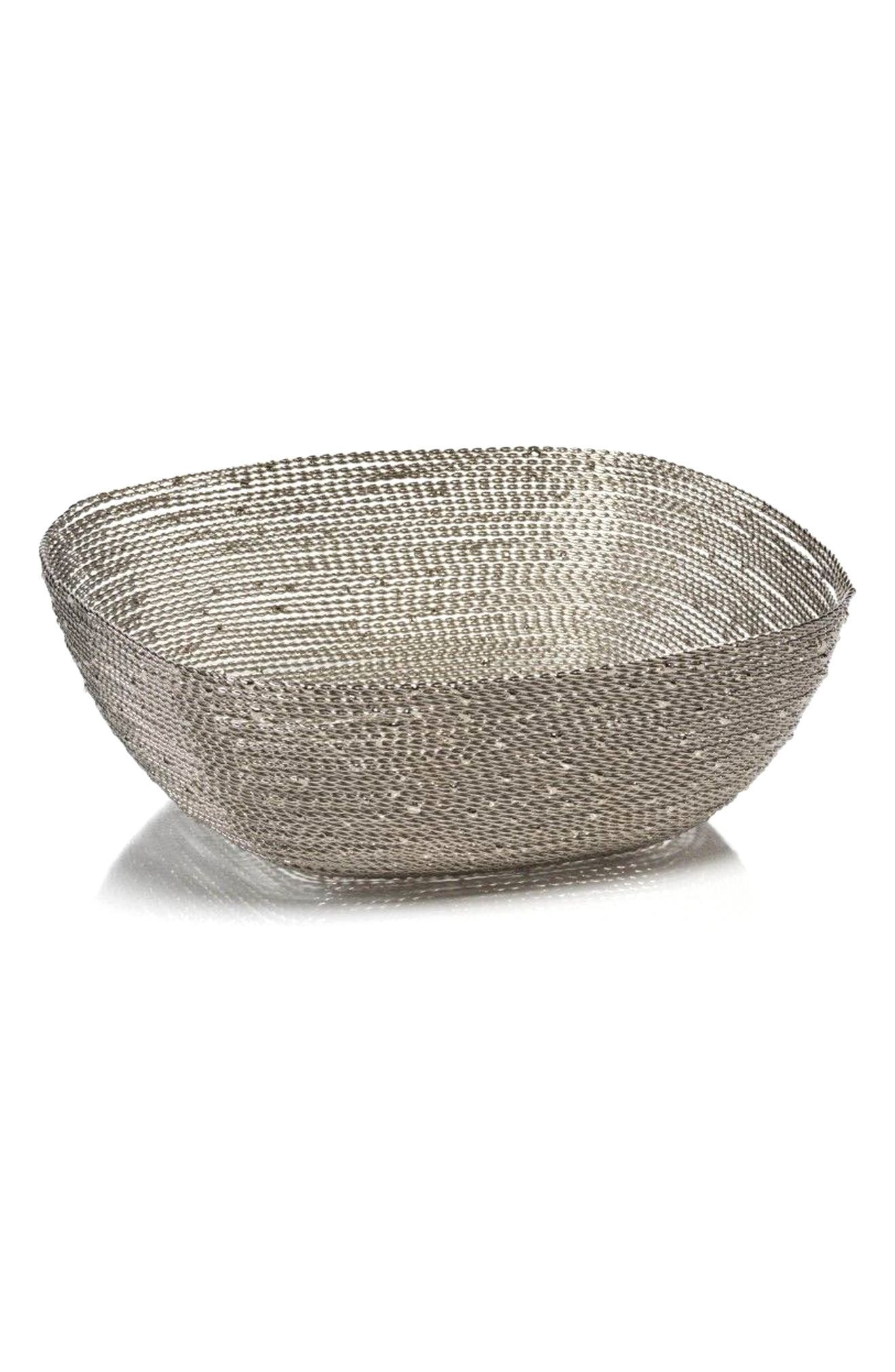 Zulu Small Square Woven Wire Basket,                             Main thumbnail 1, color,                             Silver