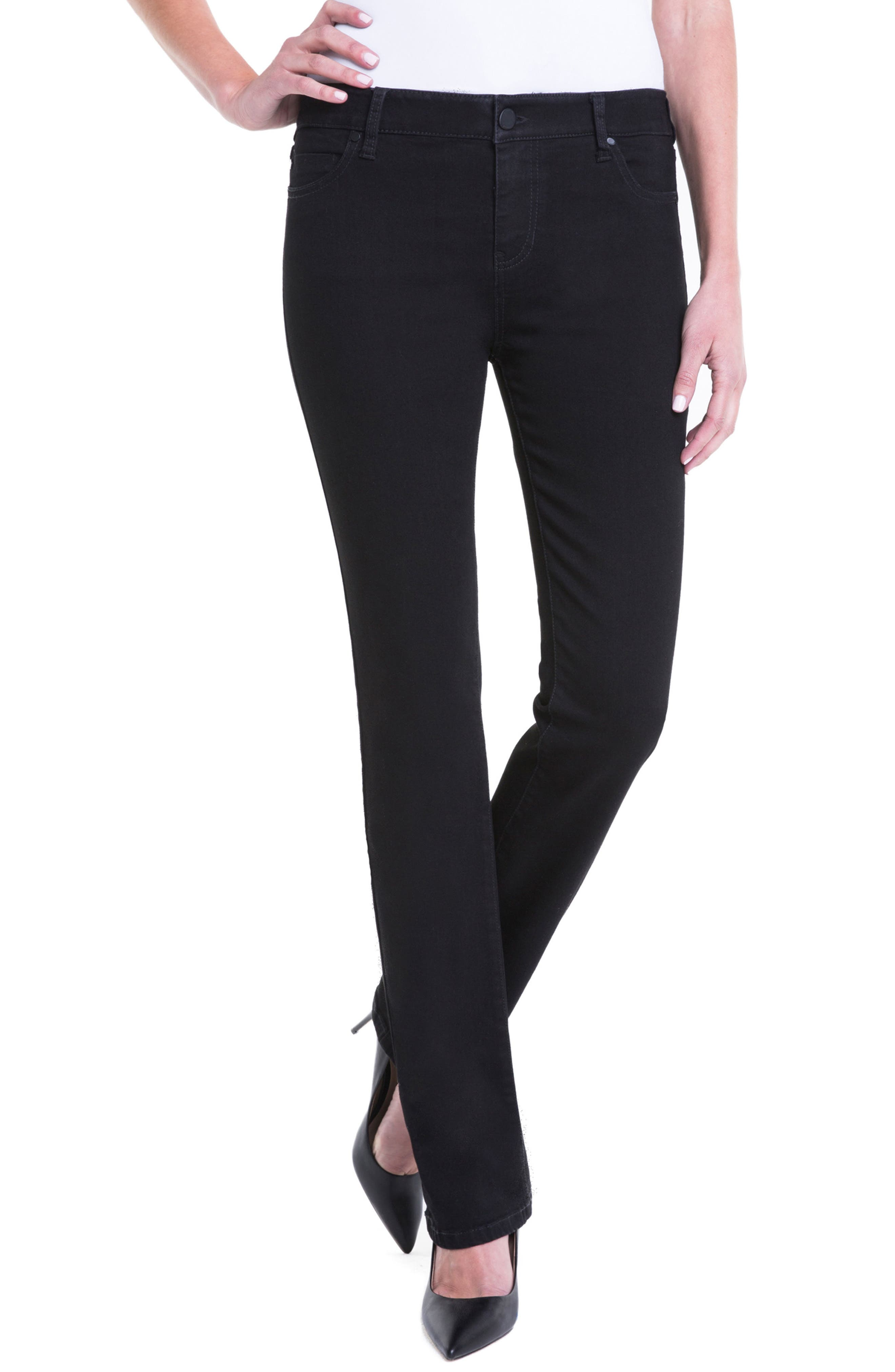 Liverpool Jeans Company Sadie Mid Rise Stretch Straight Jeans (Black Rinse) (Regular & Petite)