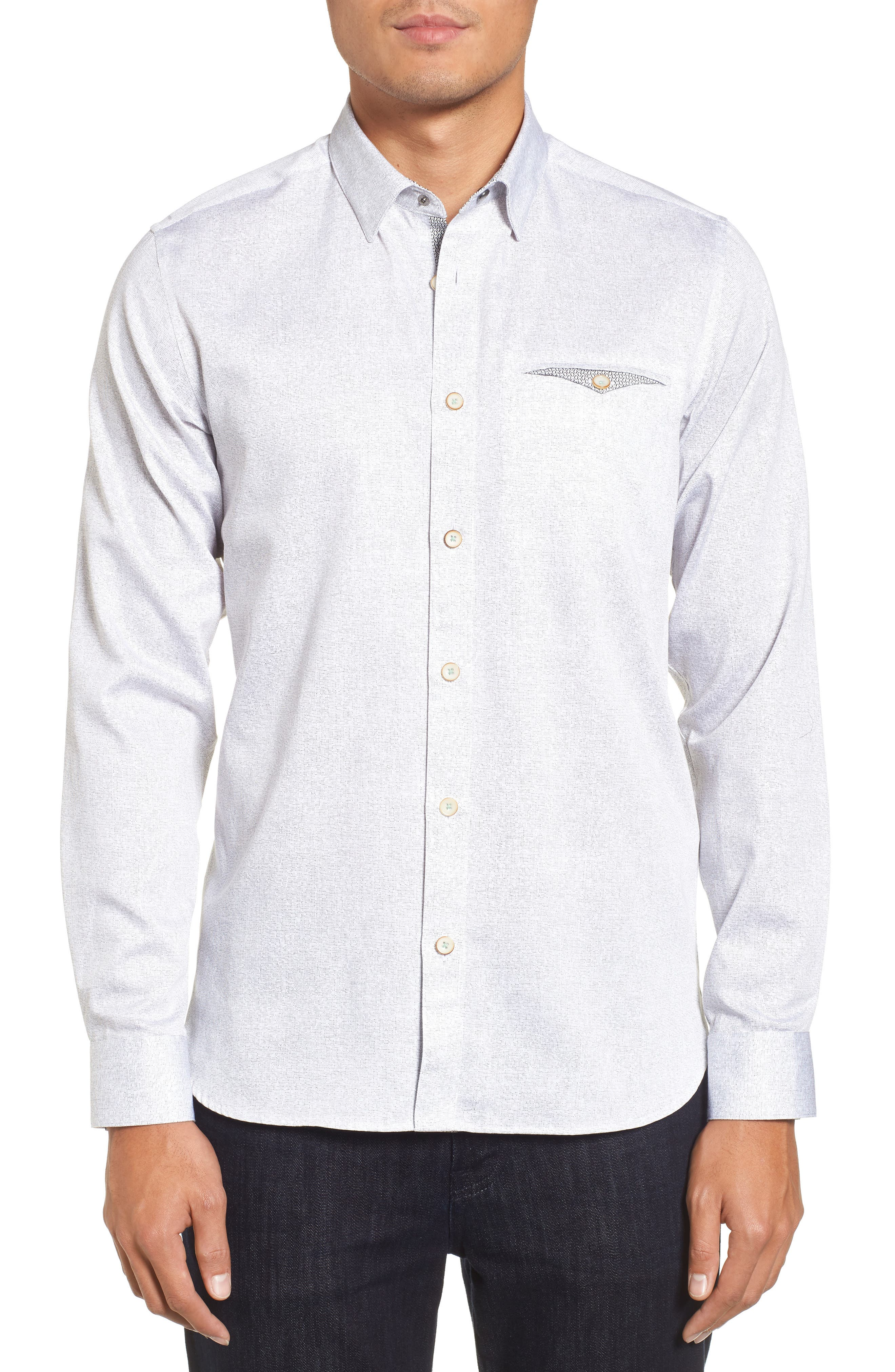 Norbor Modern Slim Fit Microdot Print Sport Shirt,                         Main,                         color, White