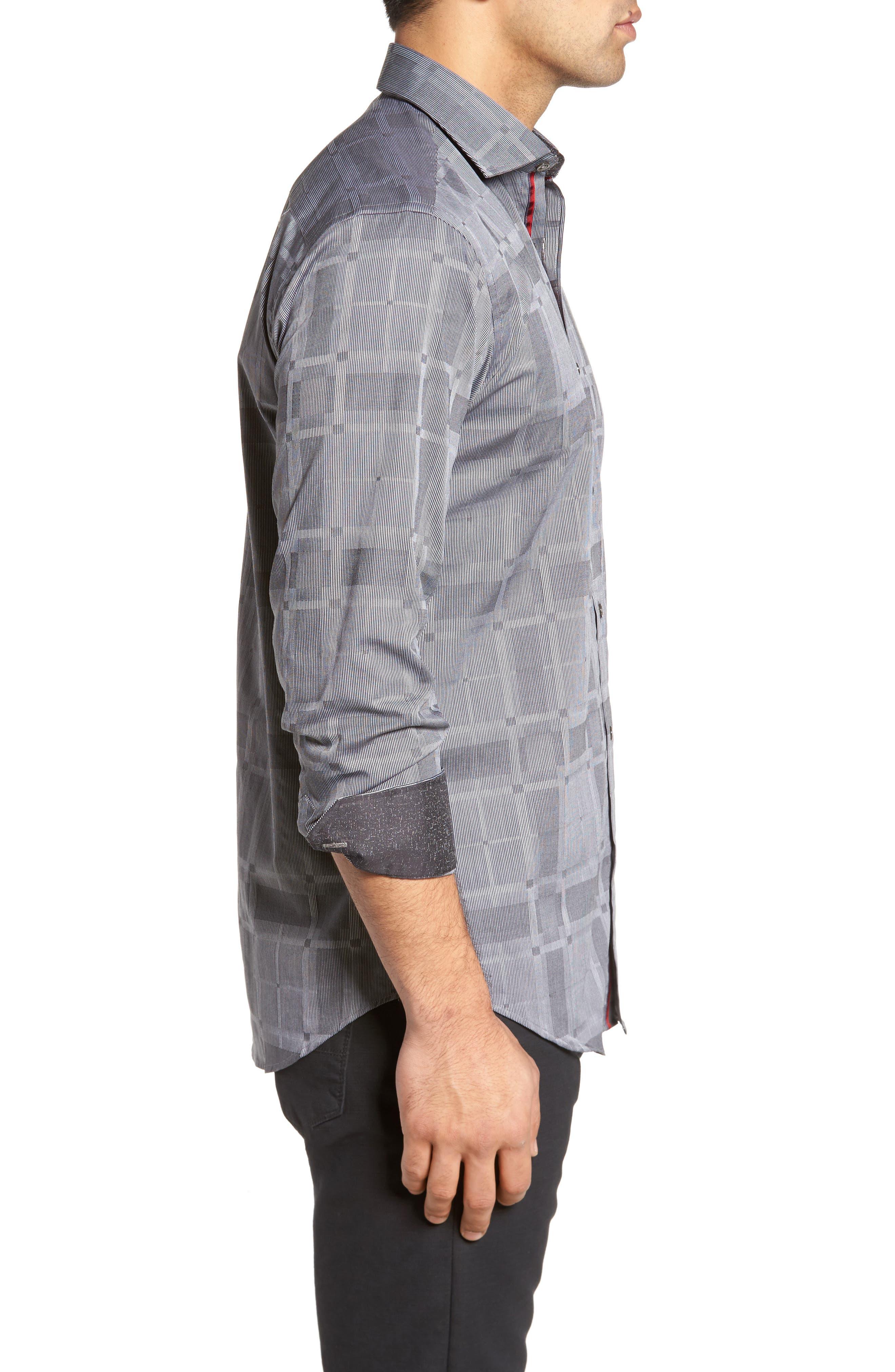 Slim Fit Microstripe Plaid Sport Shirt,                             Alternate thumbnail 3, color,                             Graphite