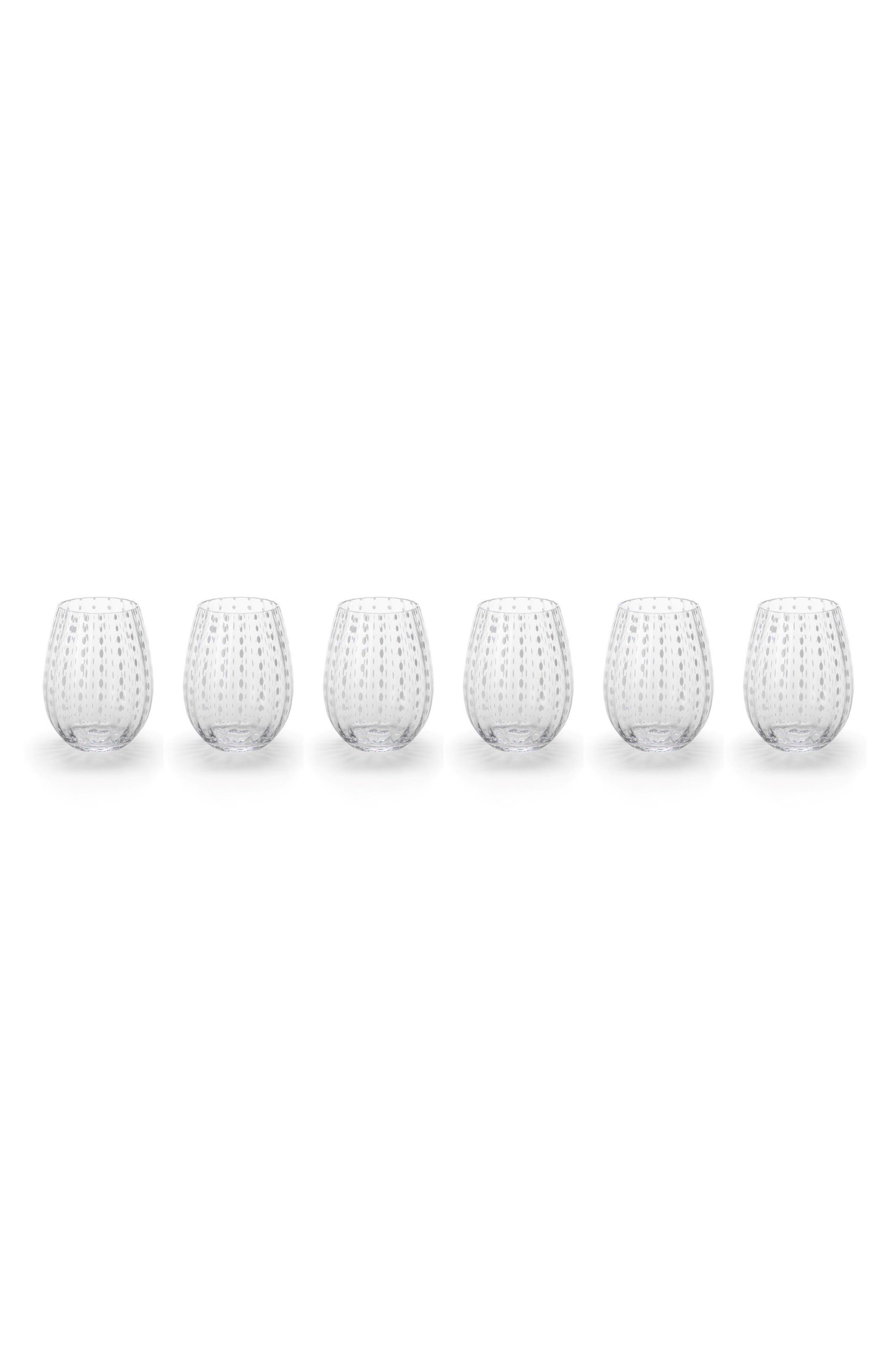 Fintan Set of 6 Stemless Wine Glasses,                             Main thumbnail 1, color,                             White