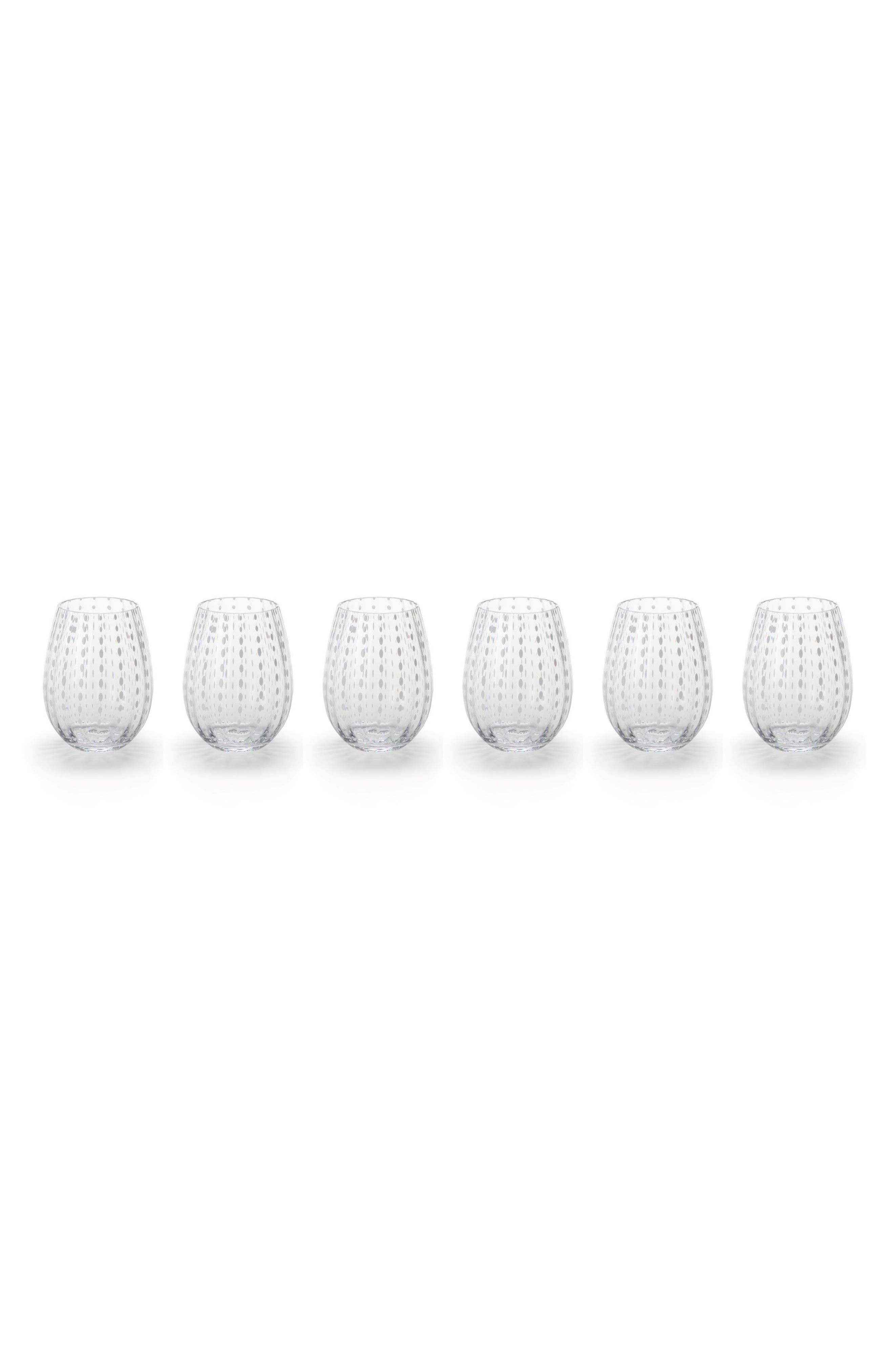 Fintan Set of 6 Stemless Wine Glasses,                         Main,                         color, White