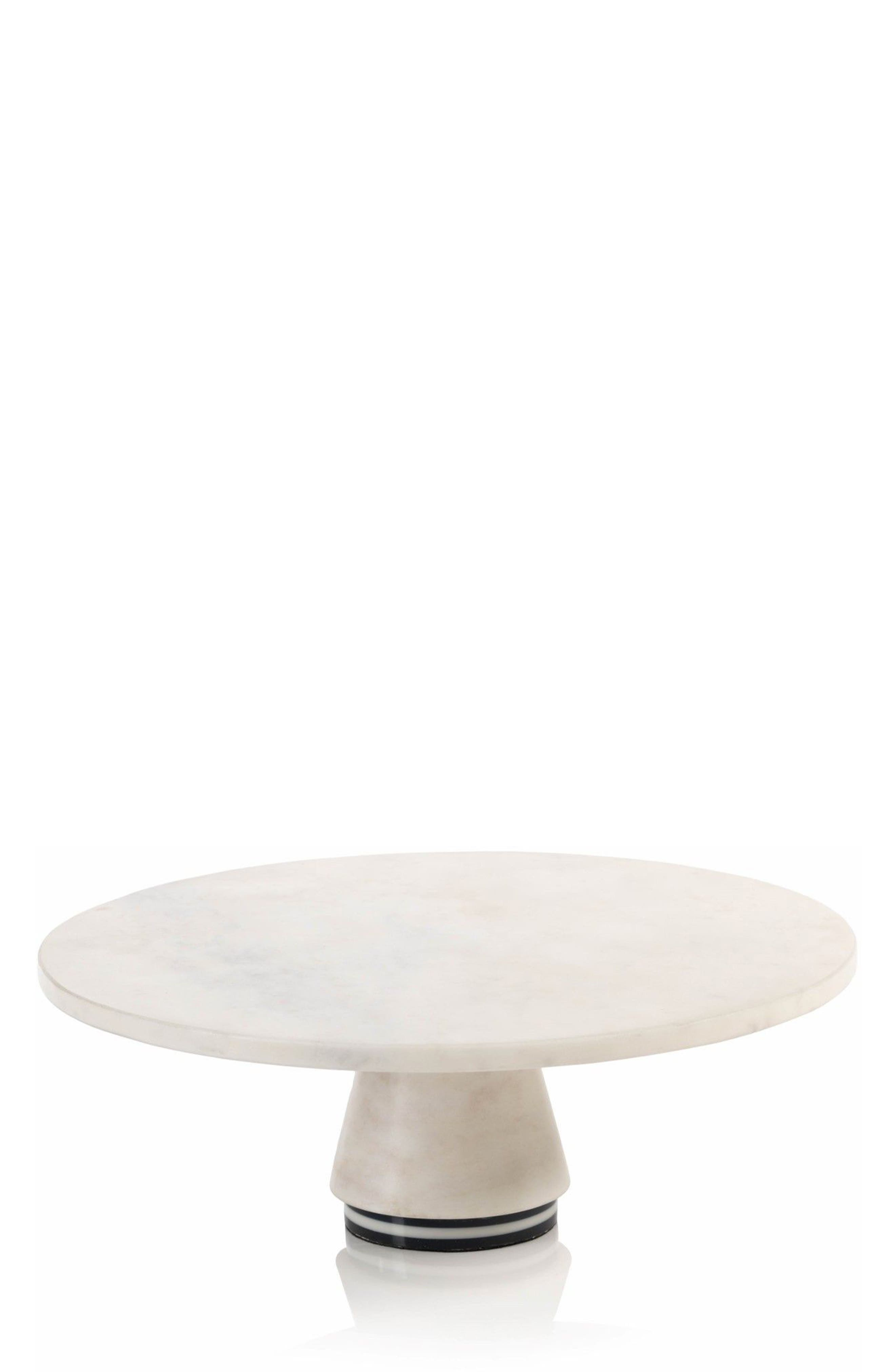 Marine Marble Cake Stand,                         Main,                         color, White/ Black