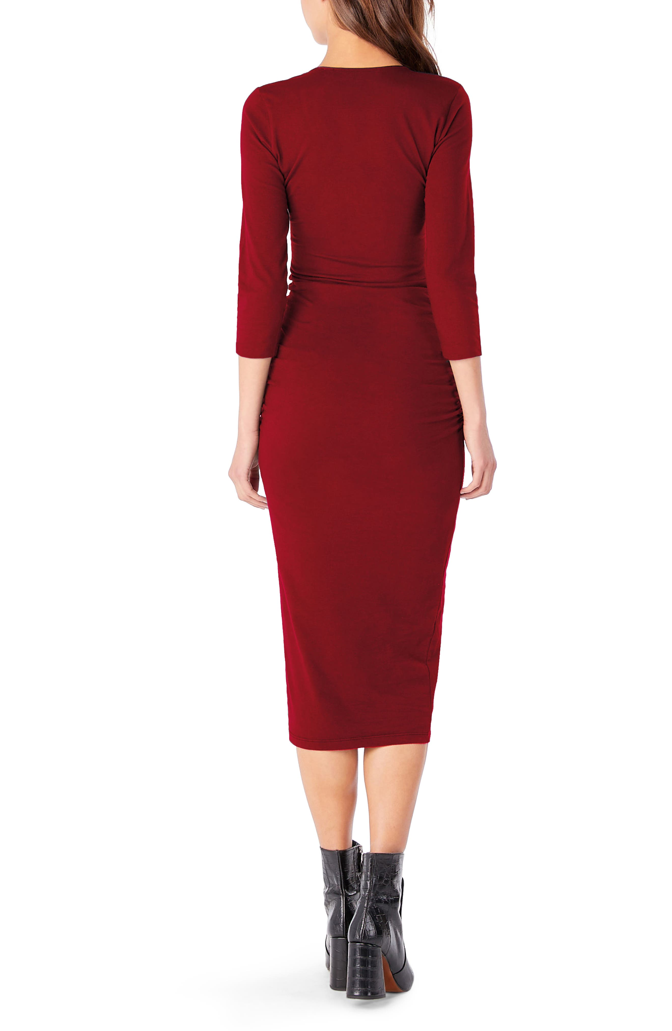 Ruched Midi Dress,                             Alternate thumbnail 2, color,                             Ruby