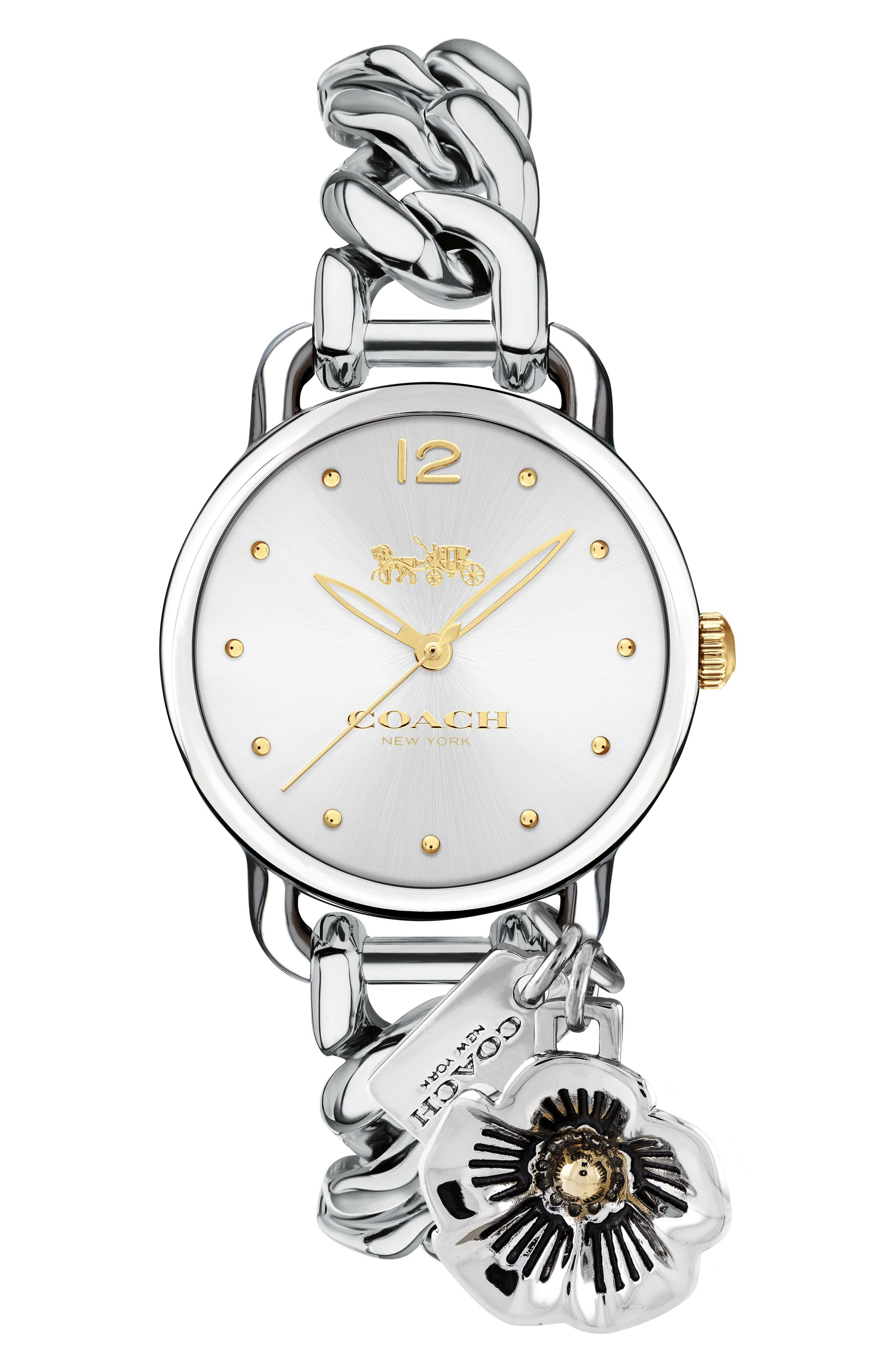 Delancey Charm Detail Chain Bracelet Watch, 36mm,                         Main,                         color, Silver