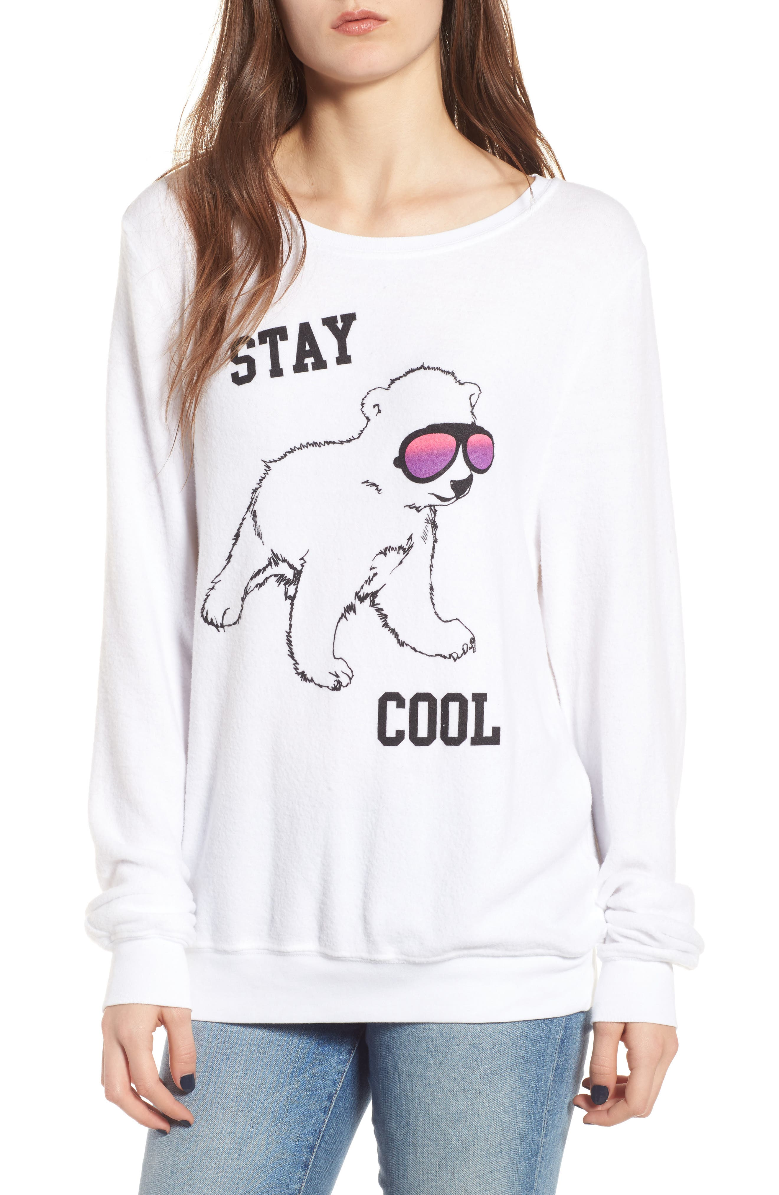 Stay Cool Polar Bear Sweatshirt,                         Main,                         color, Clean White