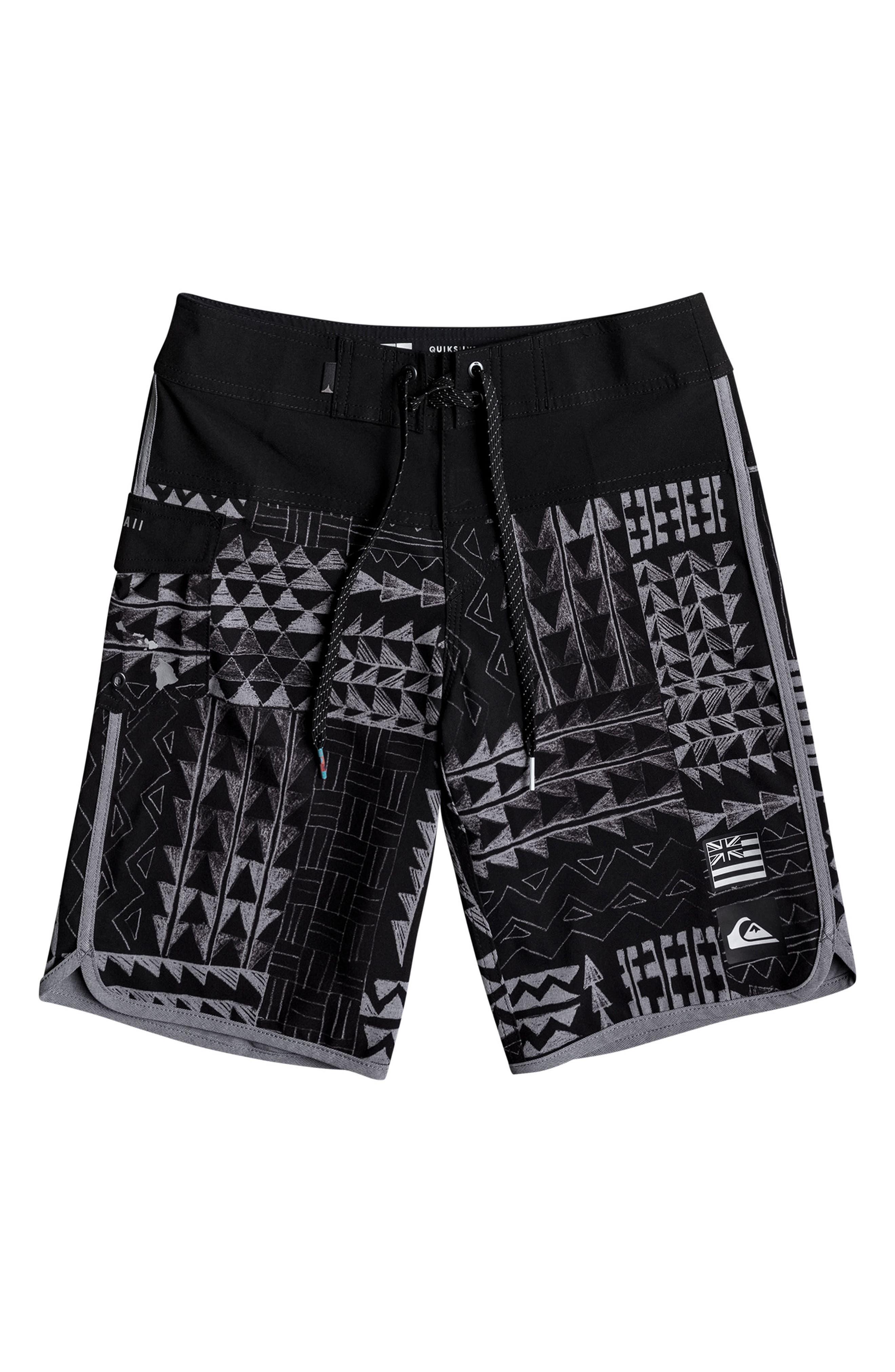 Hawaii Scallop Board Shorts,                         Main,                         color, Black
