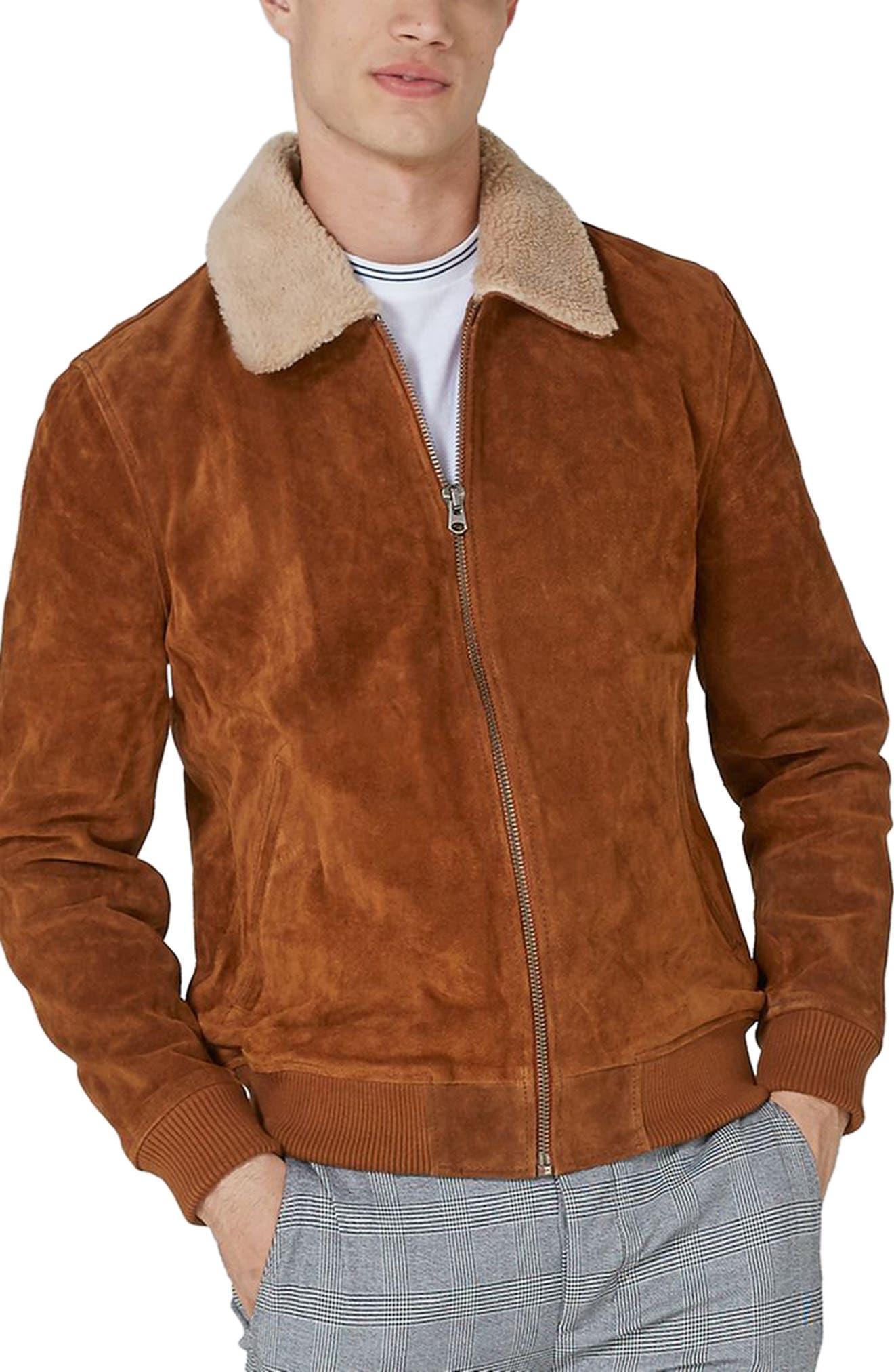 Borg Collar Suede Jacket,                         Main,                         color, Brown