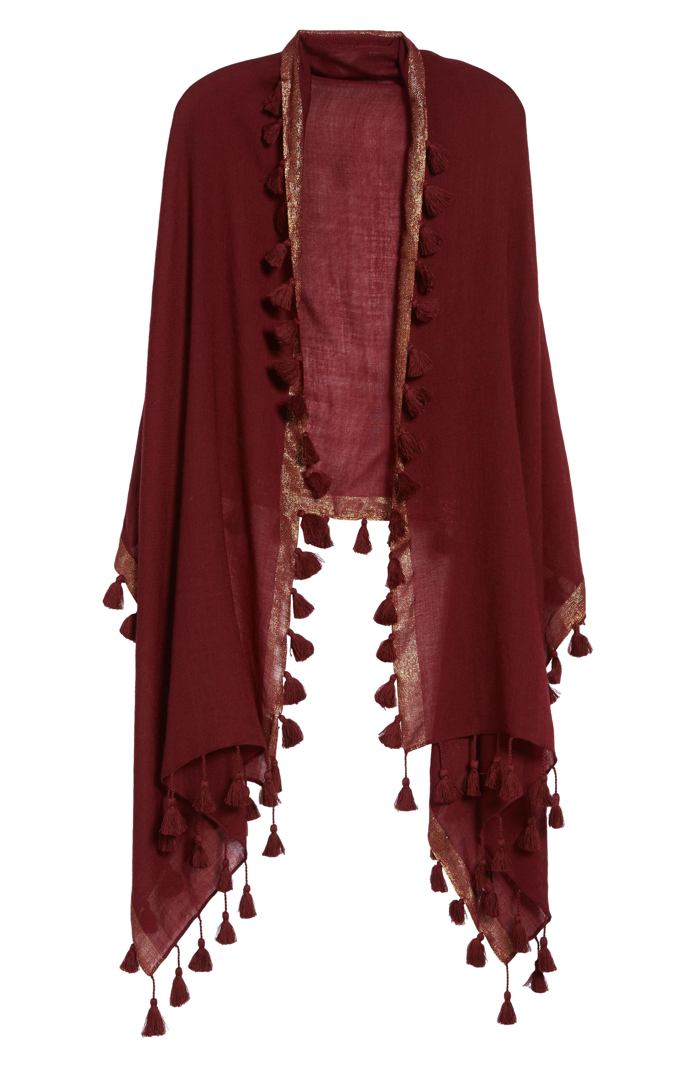 Metallic Wool Wrap,                         Main,                         color, Claret