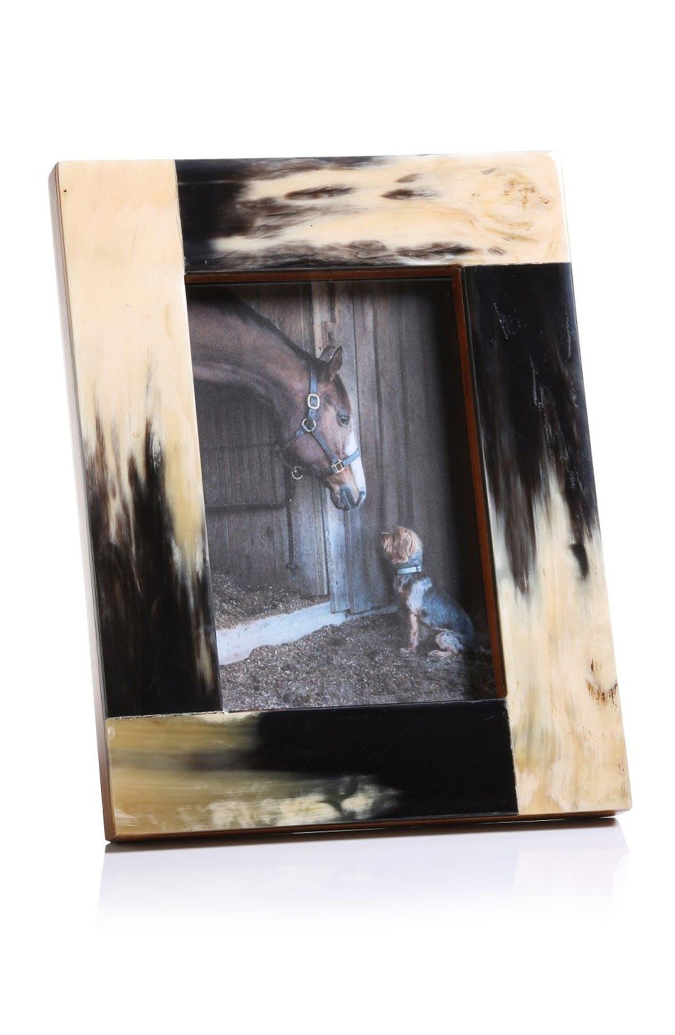 Horn Picture Frame,                         Main,                         color, Ivory/ Black