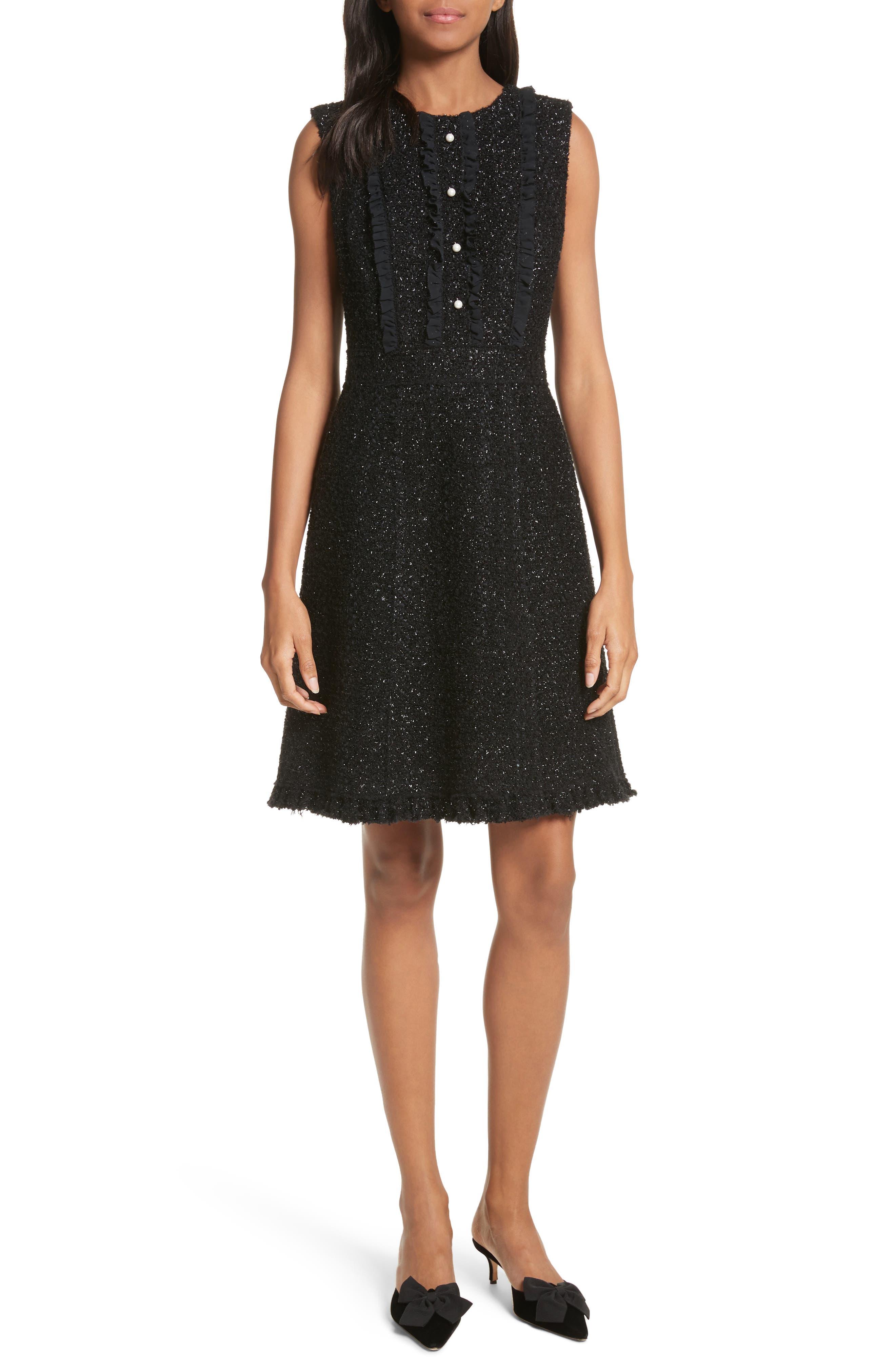 sparkle tweed dress,                         Main,                         color, Black