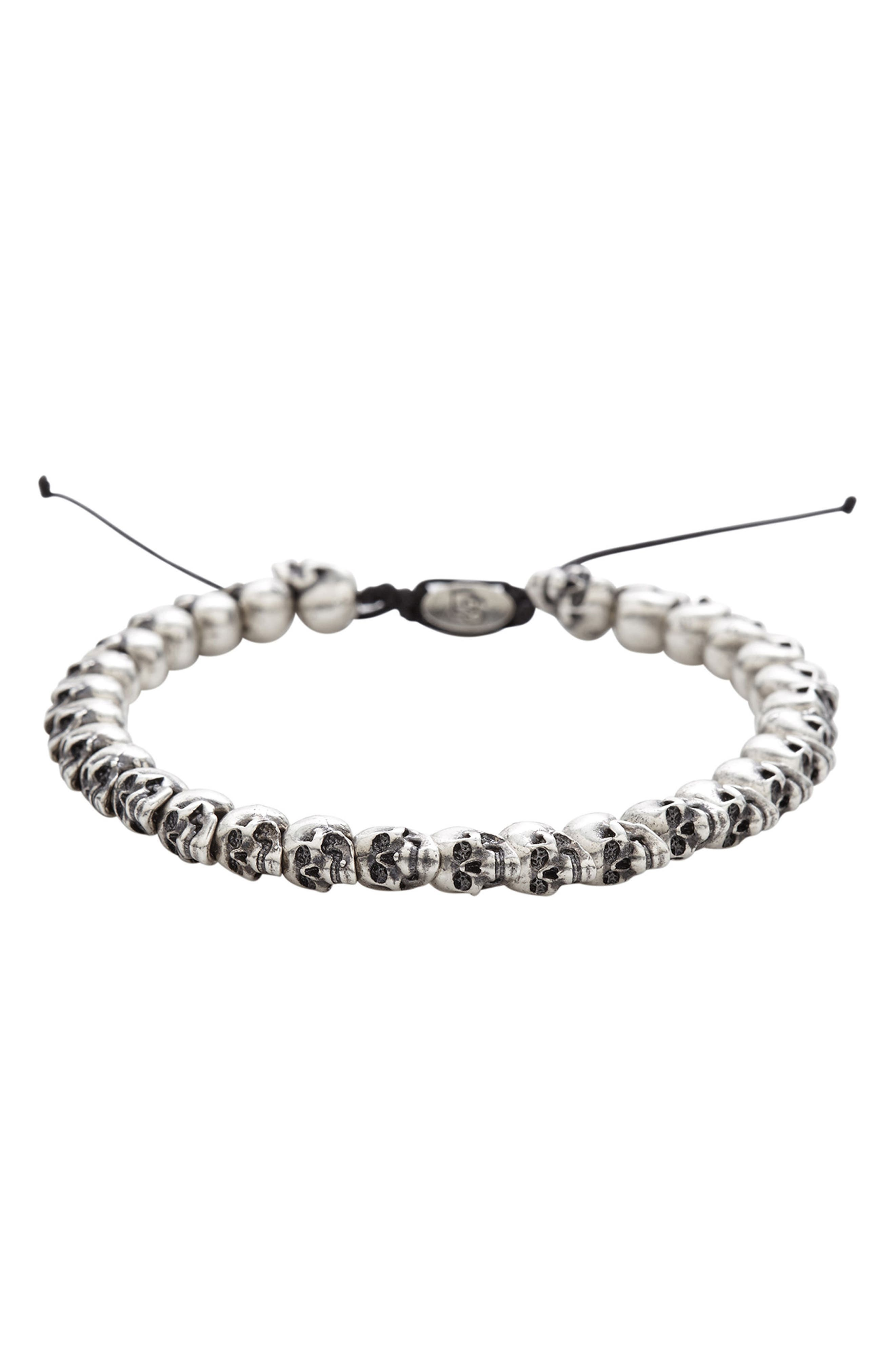 Skull Bead Bracelet,                             Main thumbnail 1, color,                             Silver