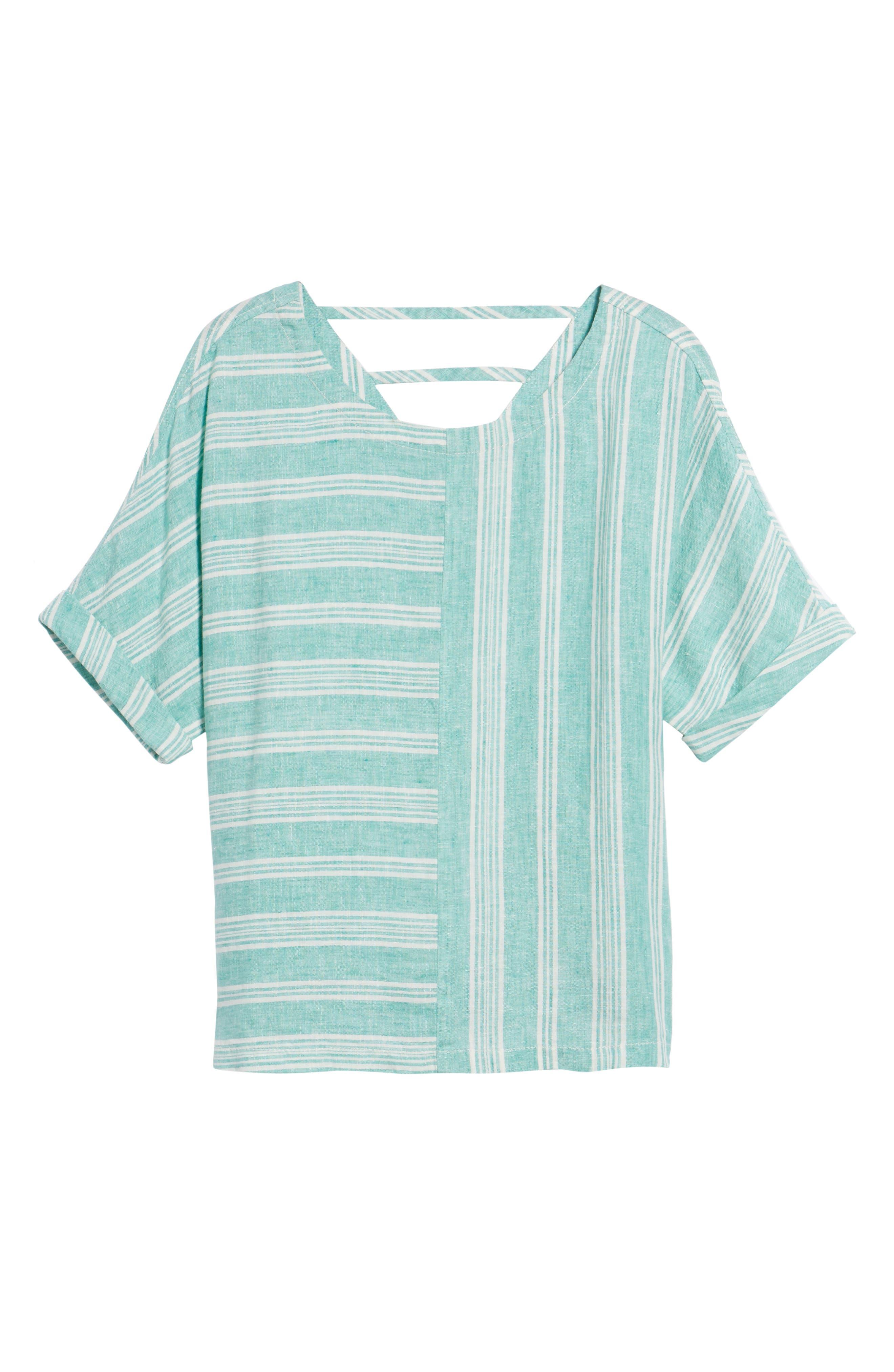 V-Back Linen Top,                             Alternate thumbnail 6, color,                             Green- Ivory Stripe