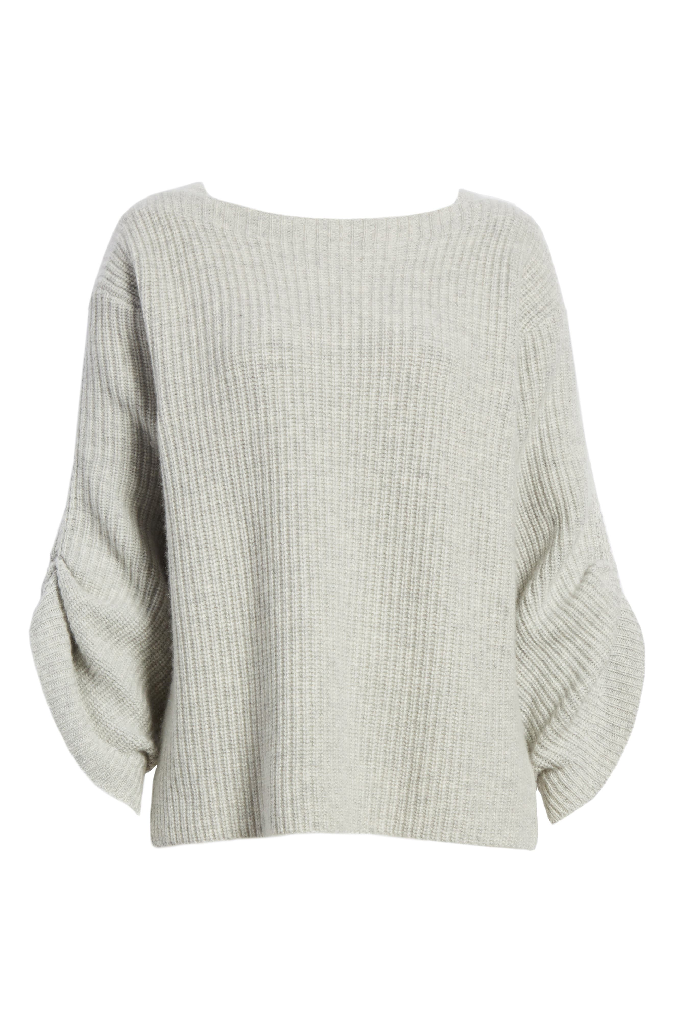 The Reva Boat Neck Wool & Cashmere Sweater,                             Alternate thumbnail 6, color,                             Gris Melange