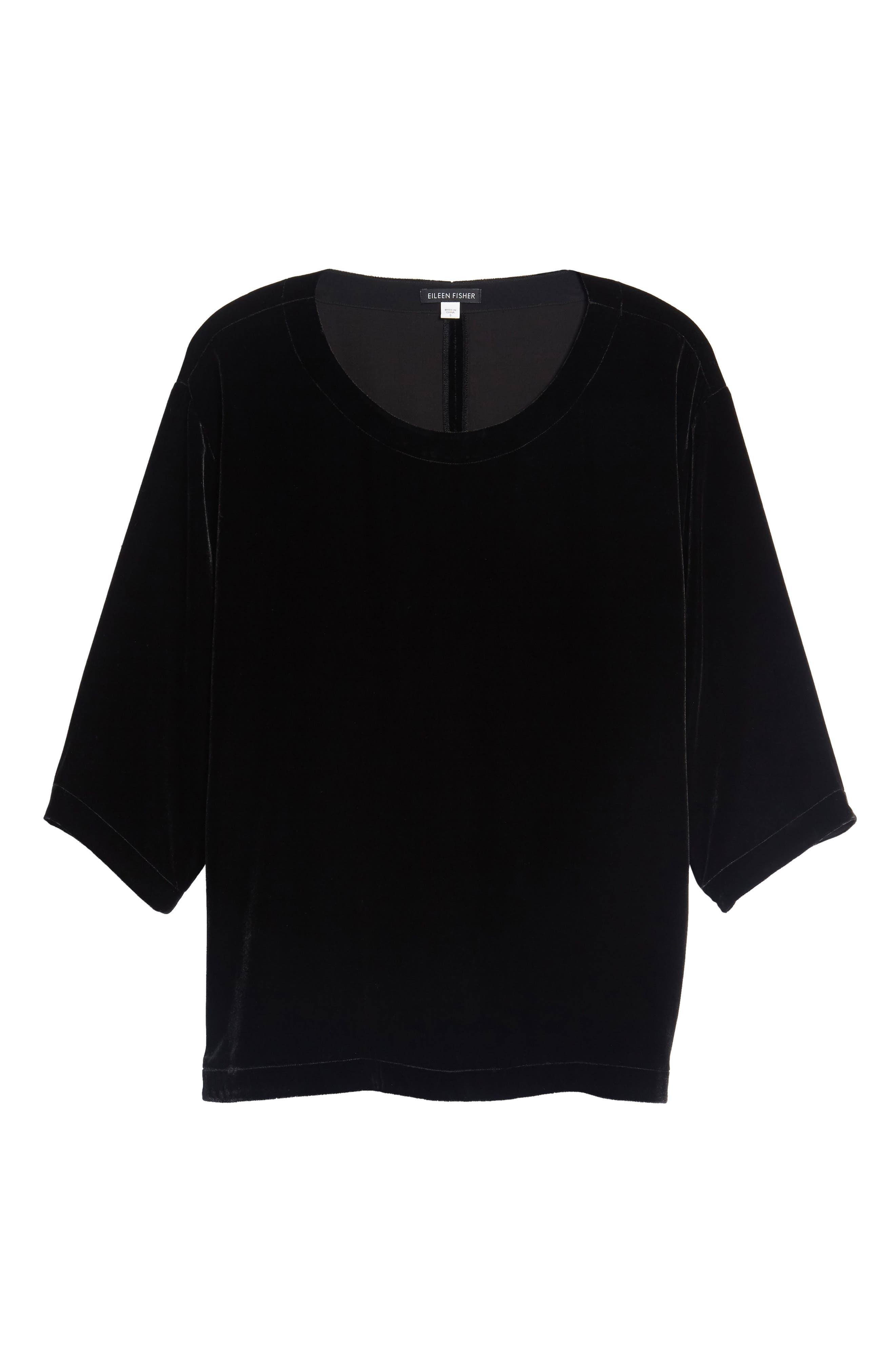 Boxy Velvet Top,                         Main,                         color, Black