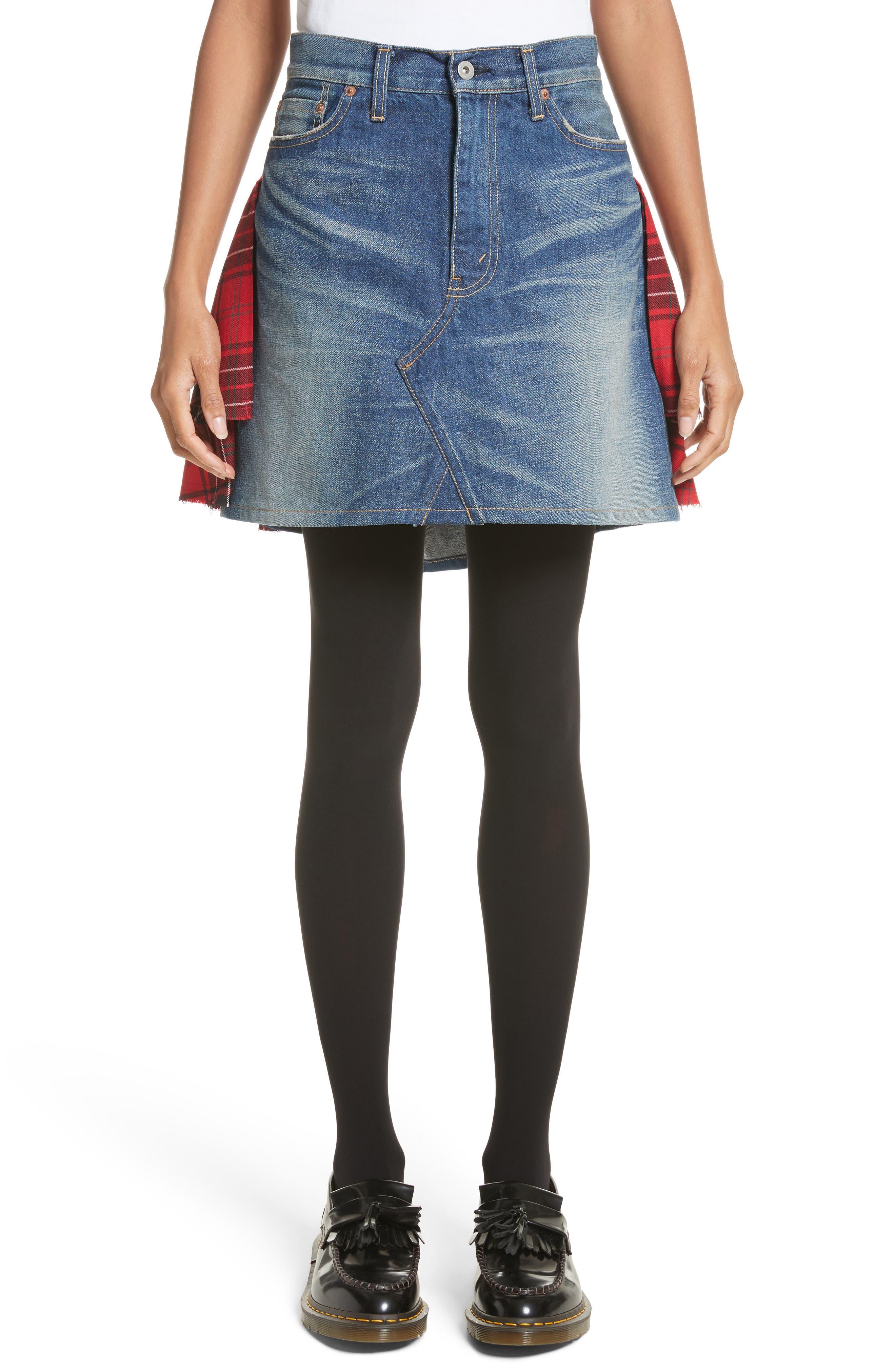 Tartan Back Denim Miniskirt,                             Main thumbnail 1, color,                             Indigo X Mix